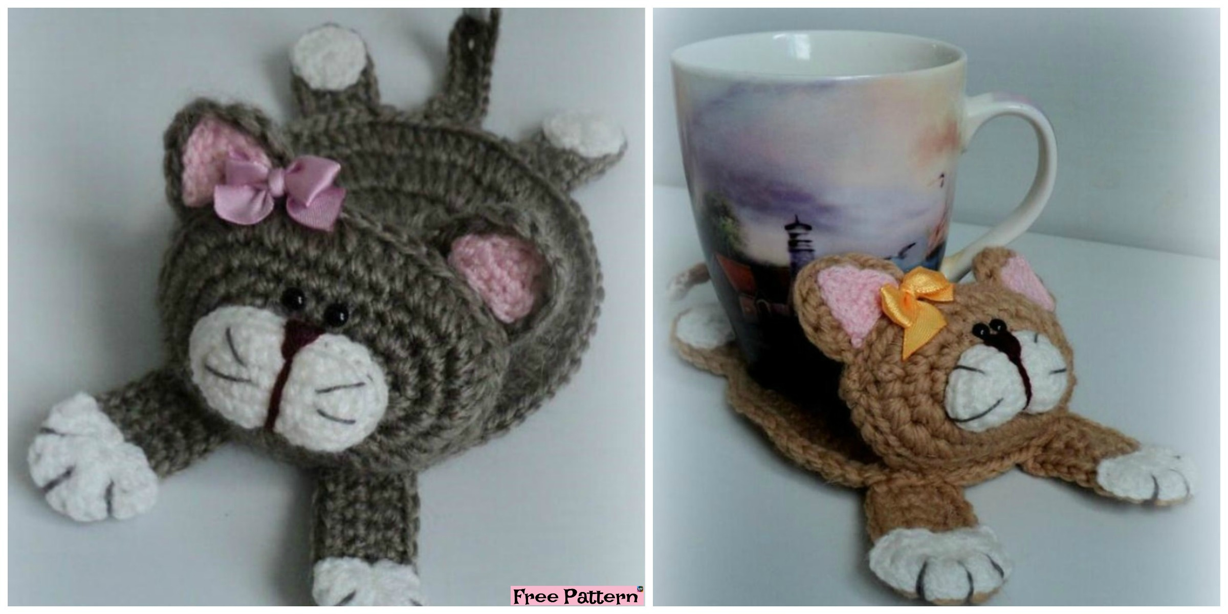 Cute Knit Cat Stand Under the Cup – Free Pattern
