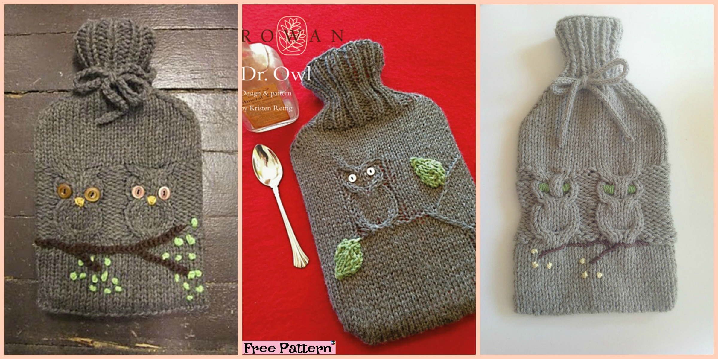 Cute Knit Owl Water Bottle Cozy – Free Pattern