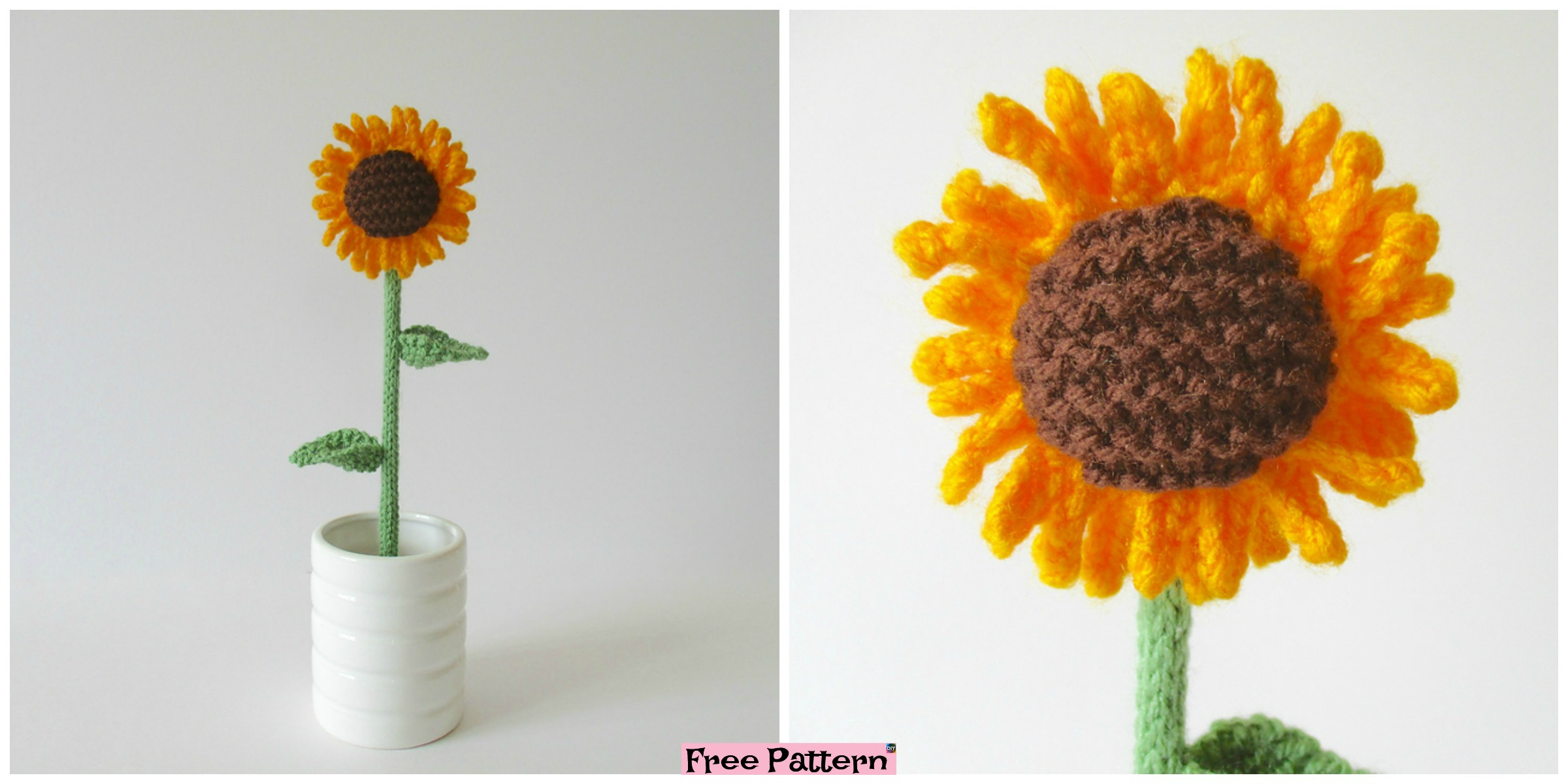 Pretty and Simple Knitted Sunflower – Free Pattern