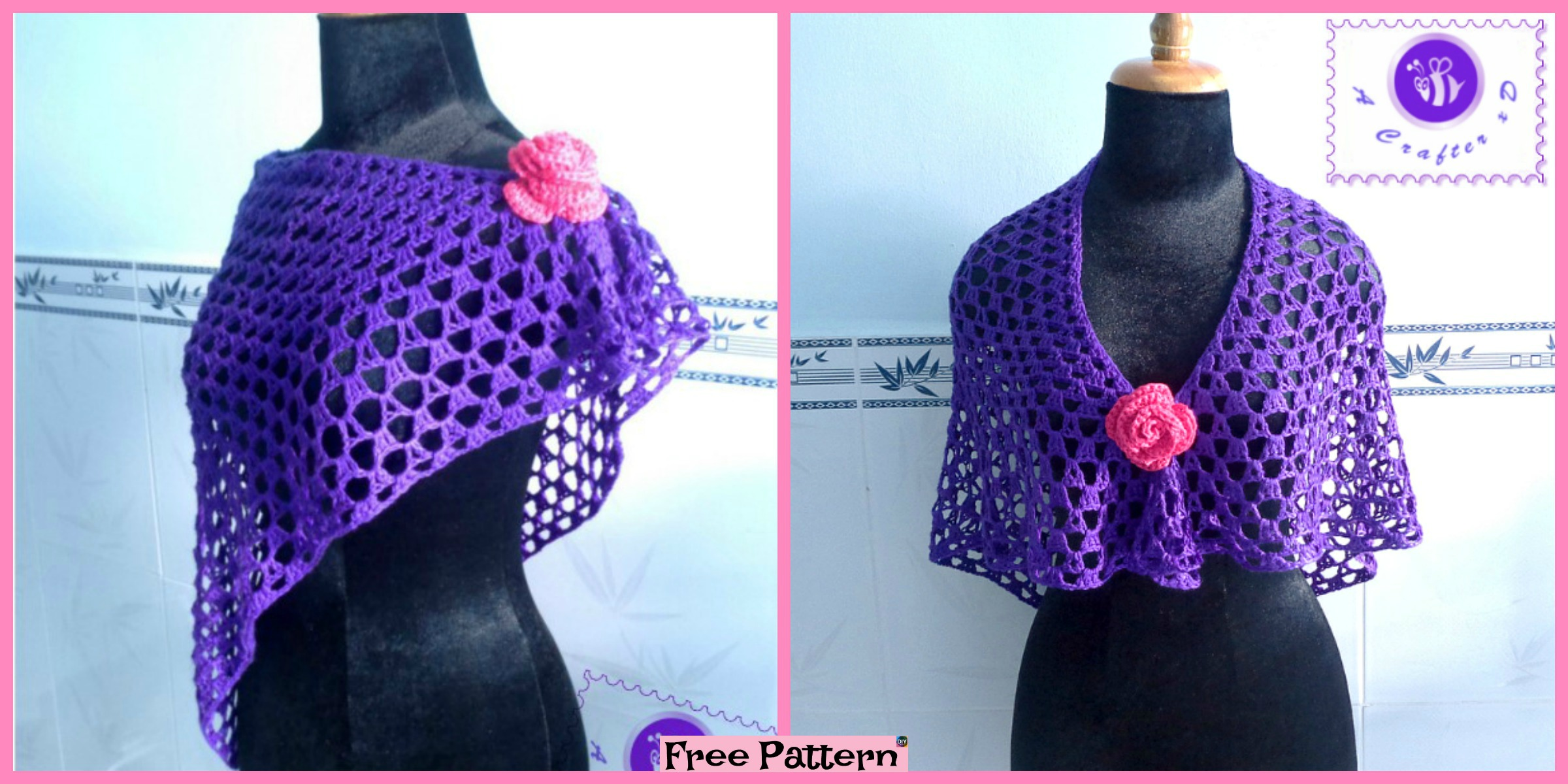 Pretty Crochet Purple Shawl – Free Pattern