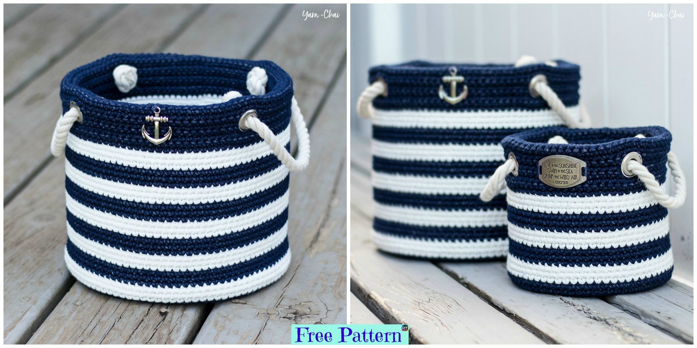 Crochet Nautical Basket – Free Pattern