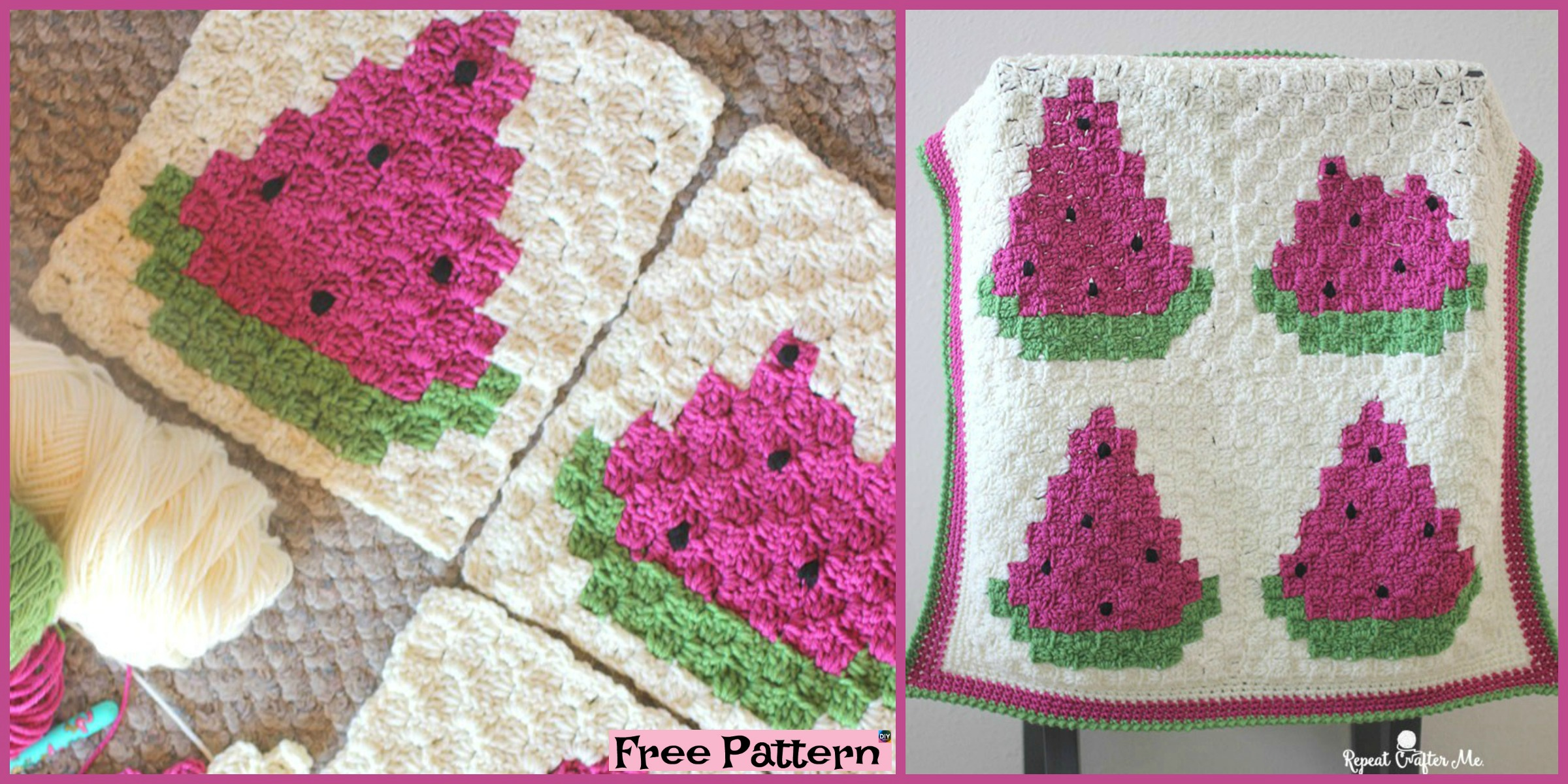 Crochet Watermelon Blanket – Free Pattern