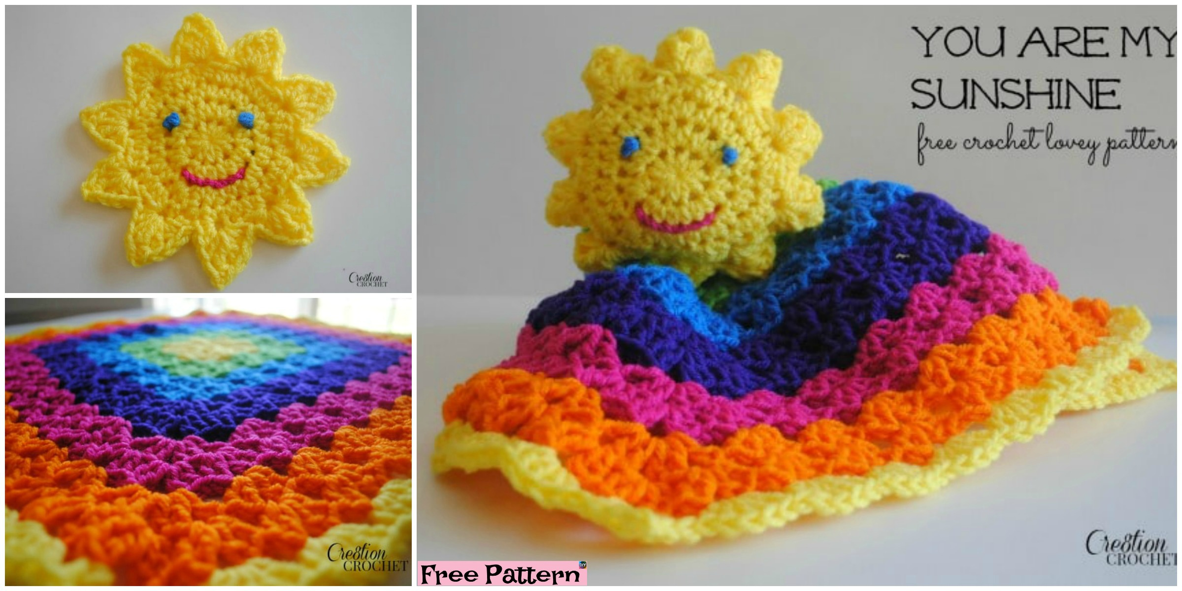 Colorful Crochet Sun Rainbow Lovey – Free Pattern