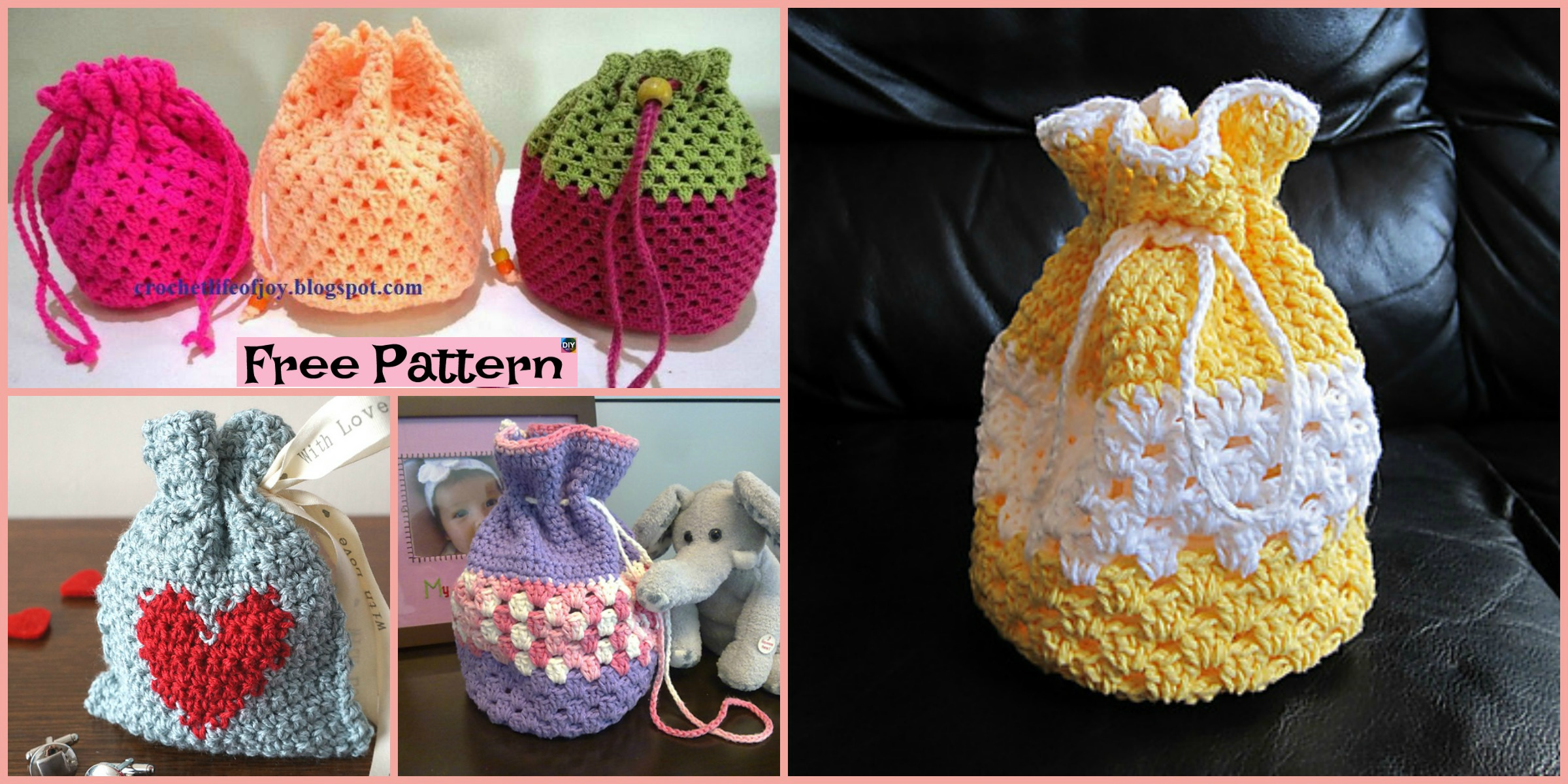 Round Base Crocheted Goody Bag – Free Patterns