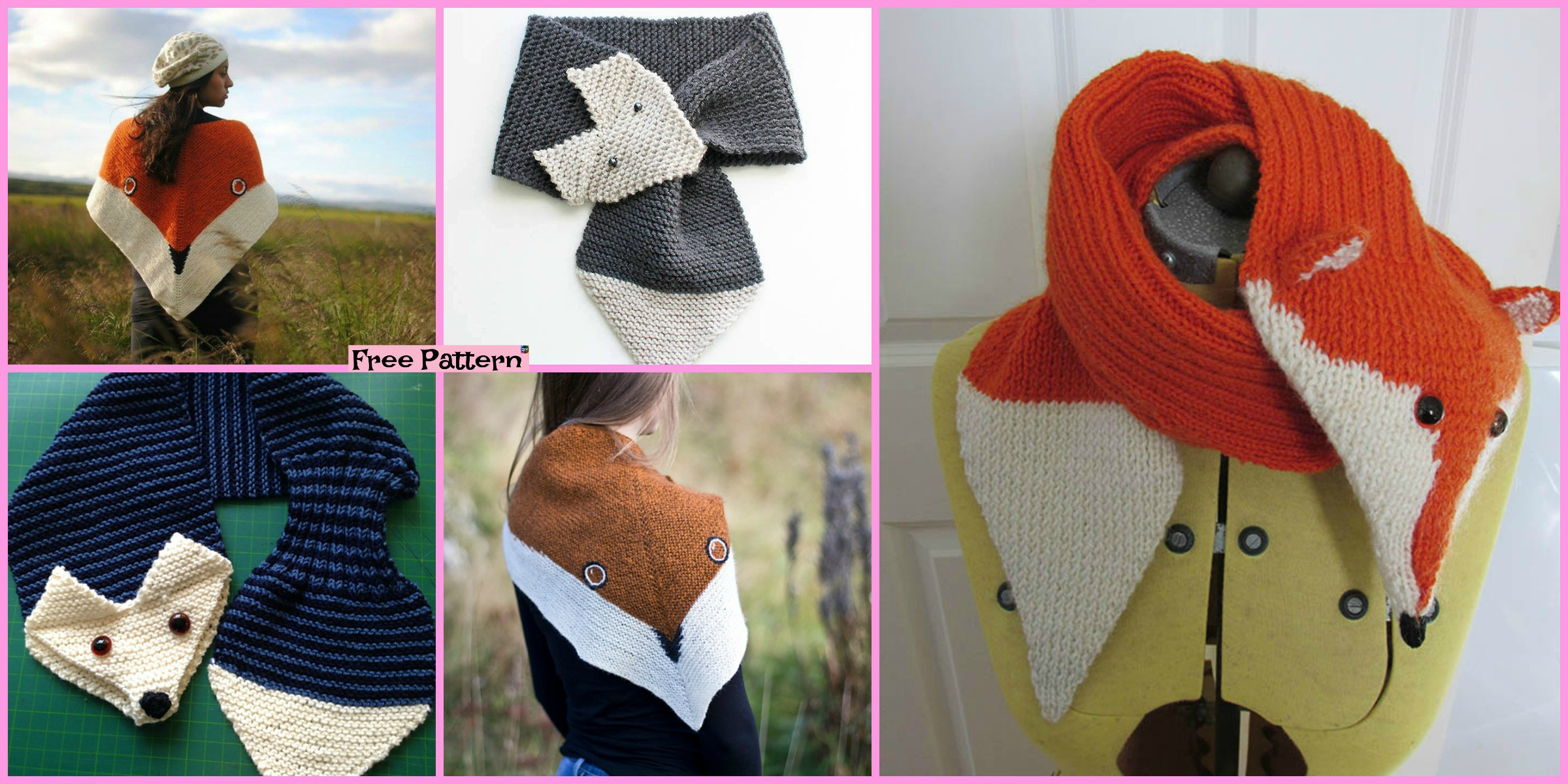 5 Cutest Knitting Fox Scarf Free Patterns