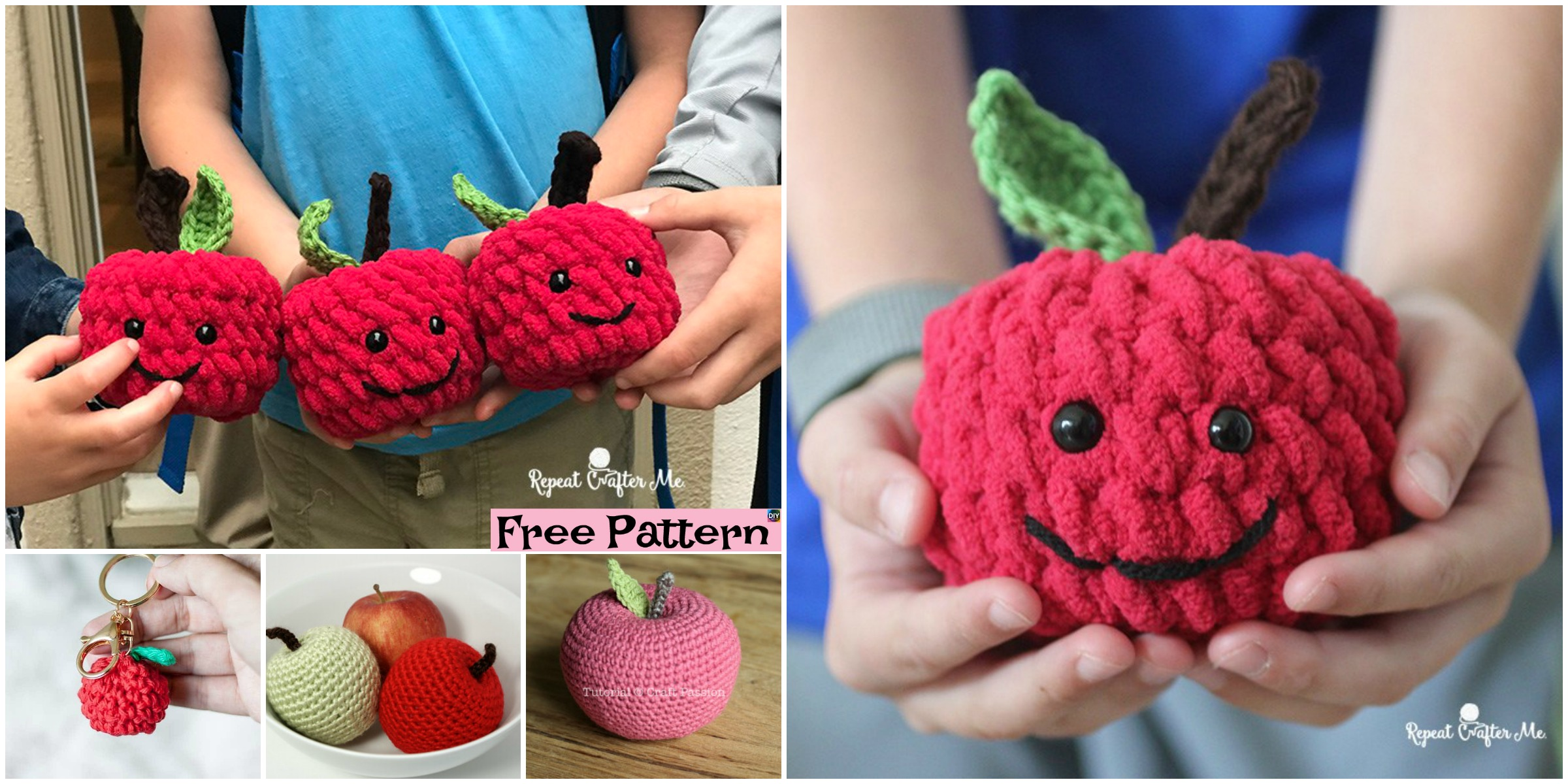 6 Crochet Apple Amigurumi Free Patterns
