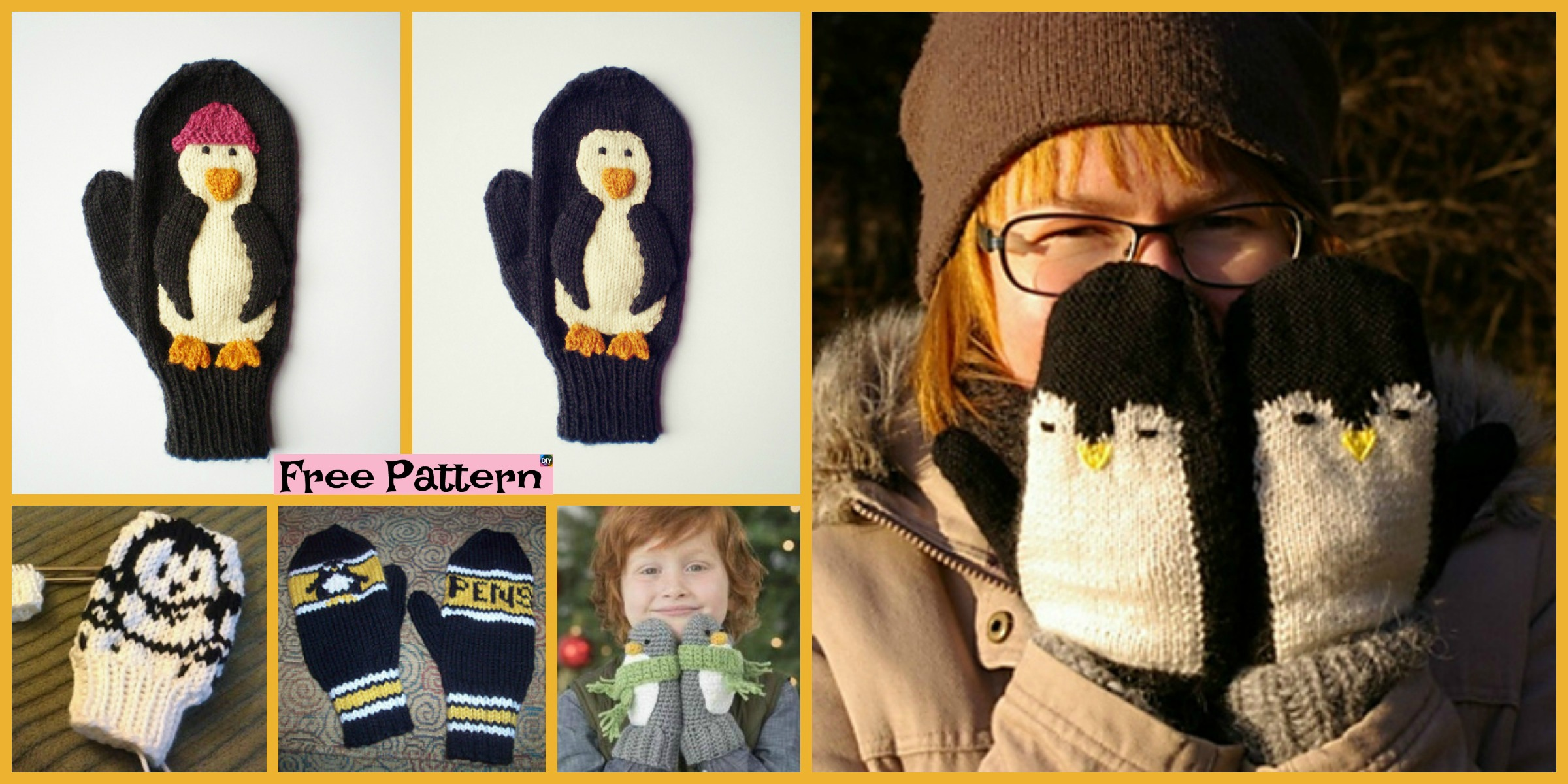 Adorable Knit Penguin Mittens – Free Patterns