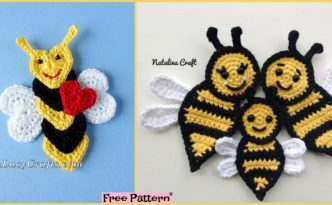 diy4ever-Crochet Applique Bees - Free Pattern
