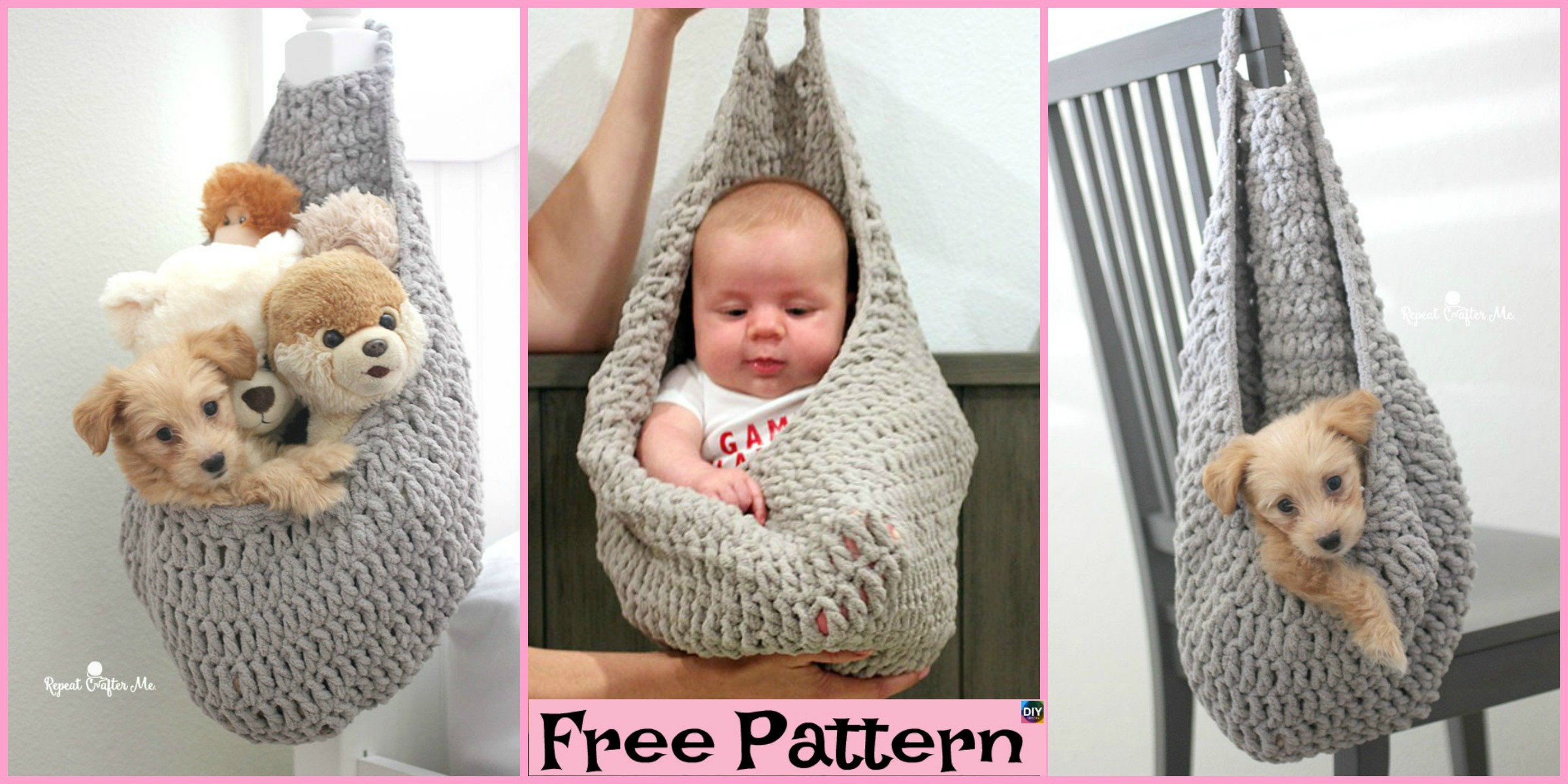 Crochet Hanging Sack Basket – Free Pattern
