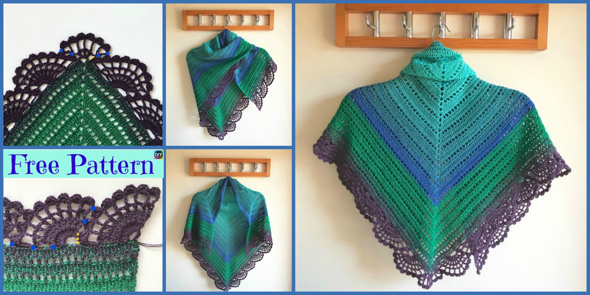 Crochet Peafowl Feathers Shawl – Free Pattern