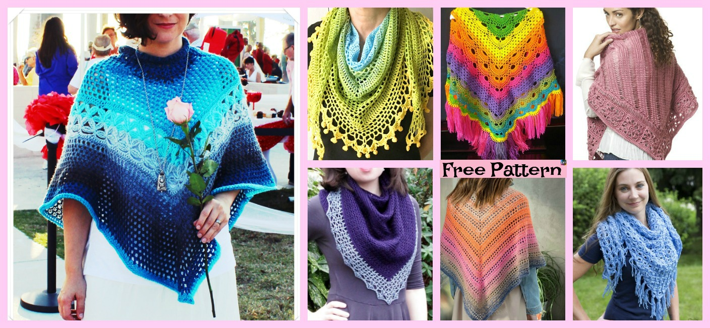 10+ Pretty Crocheted Shawls – Free Patterns