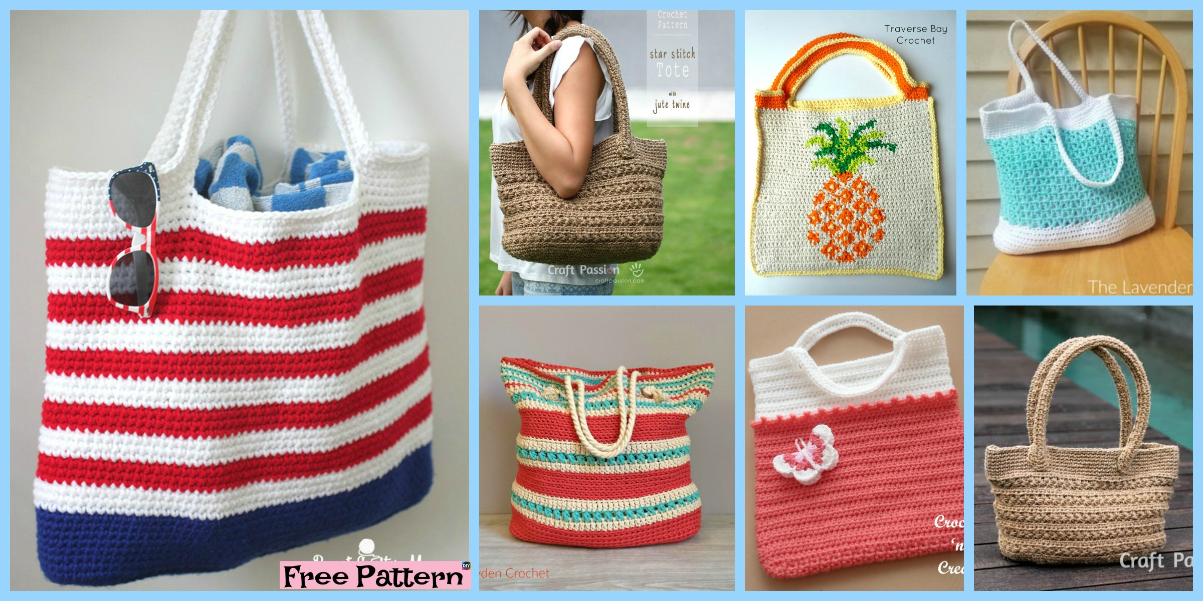 10 Pretty Crocheted Tote Bags – Free Patterns