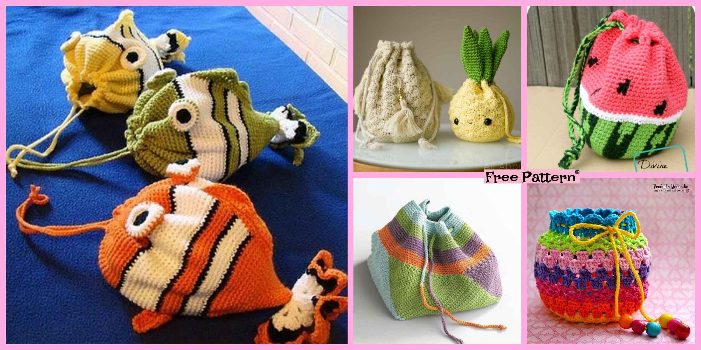 15 Crochet Drawstring Bag Free Patterns