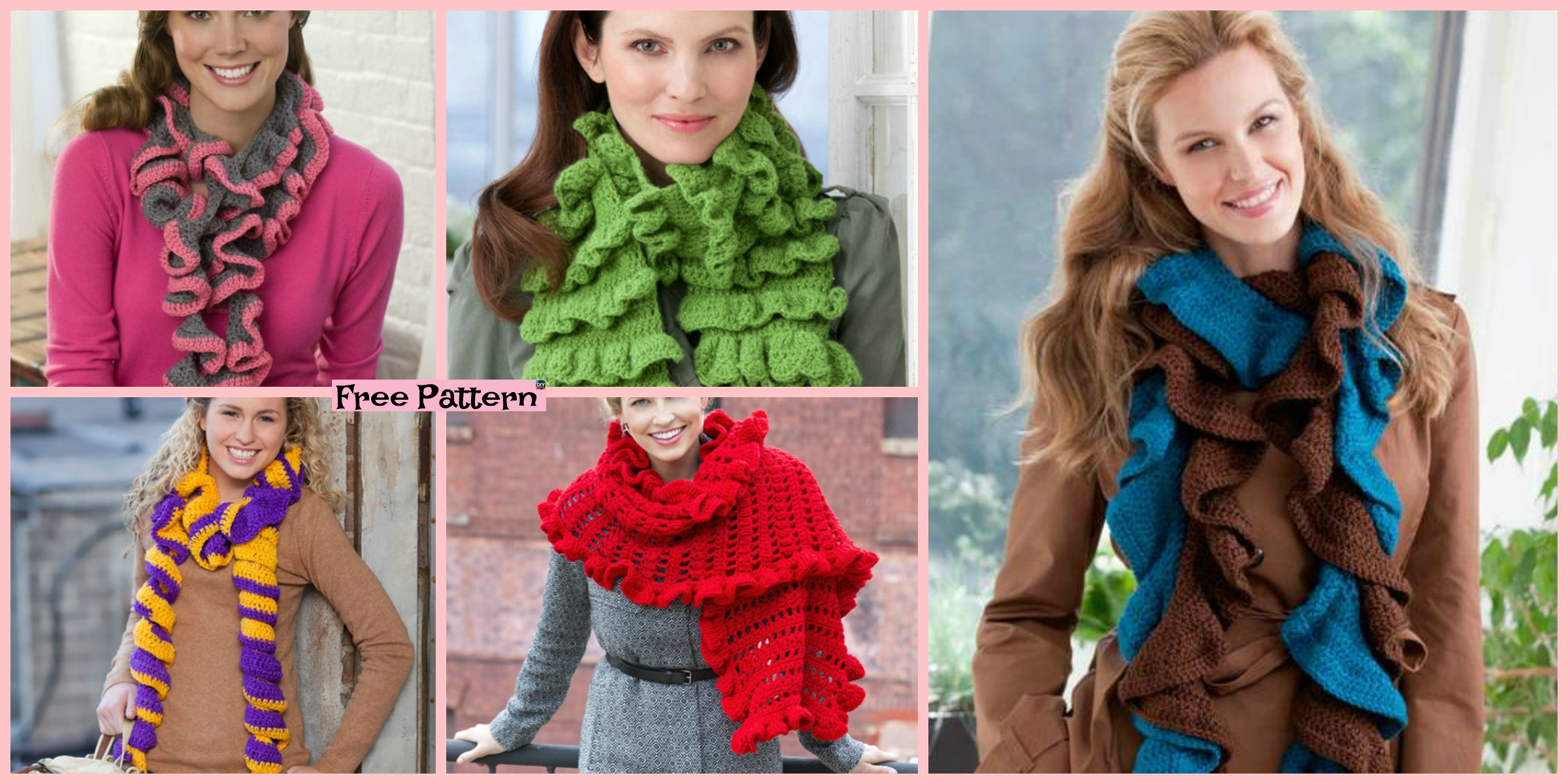 6 Beautiful Crochet Ruffled Scarf Free Patterns