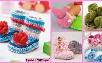 diy4ever-8 Crochet Winter Baby Booties - Free Patterns