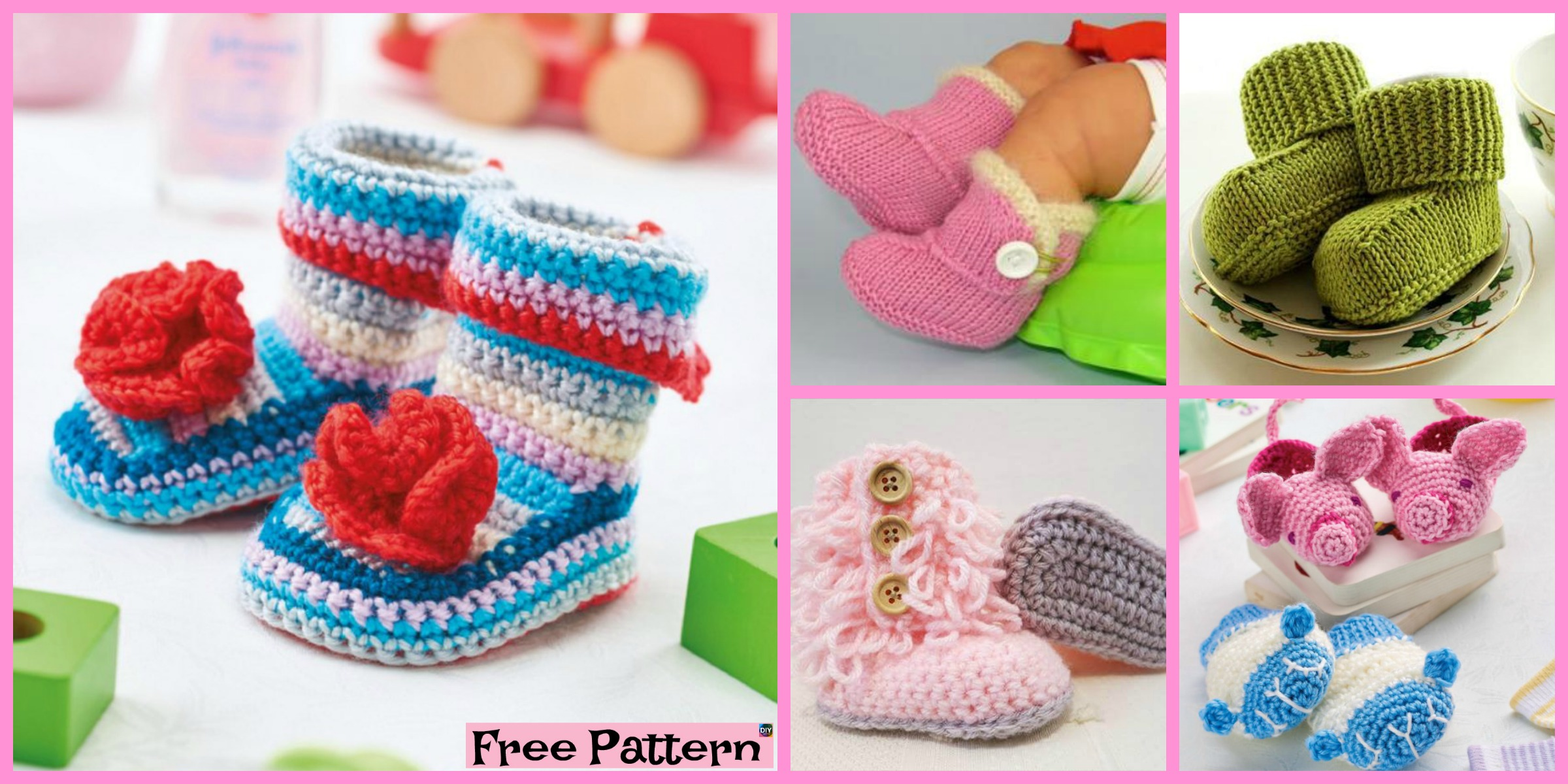 8 Crochet Winter Baby Booties – Free Patterns