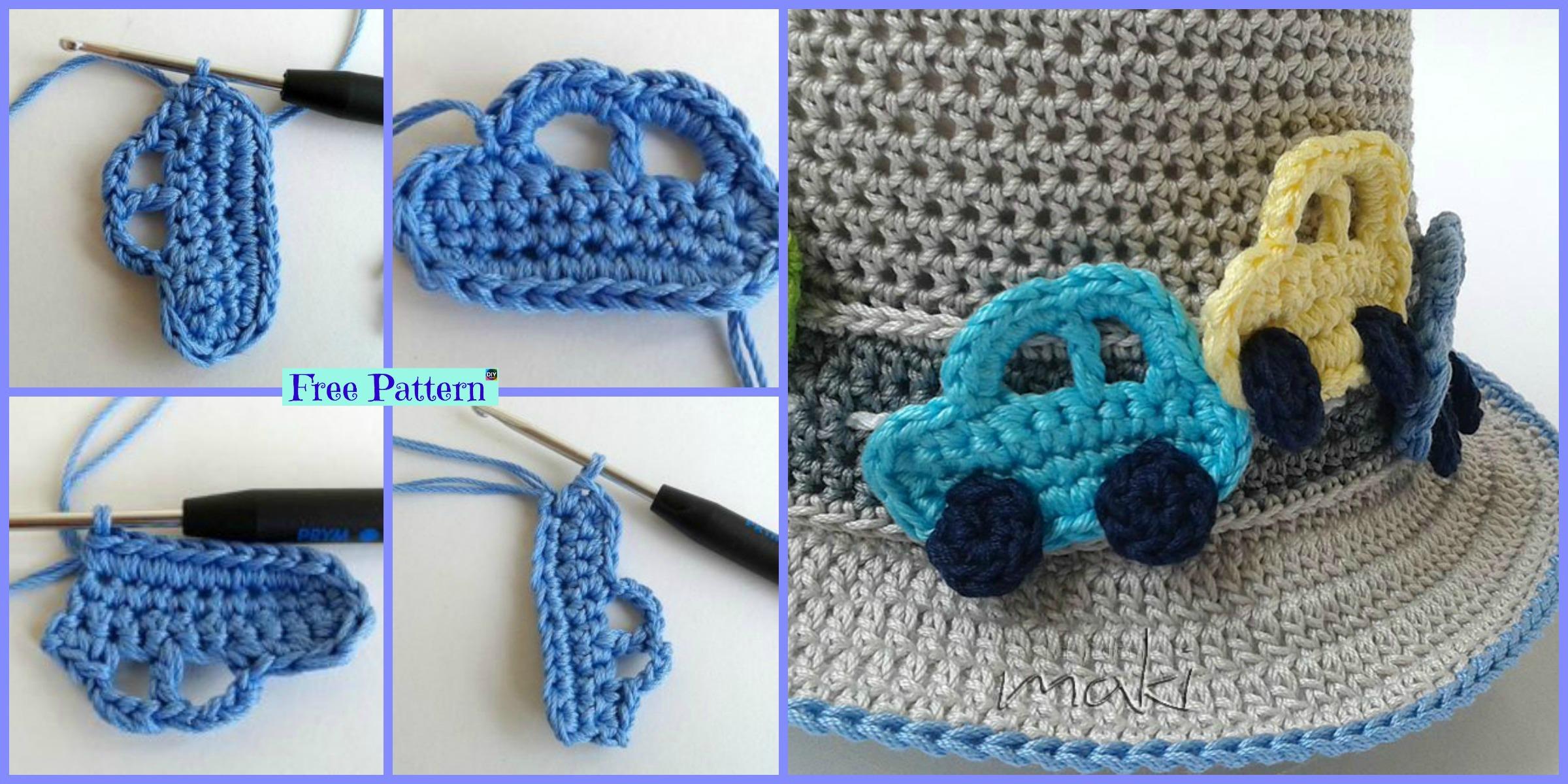 Cute Crochet Car Applique – Free Pattern