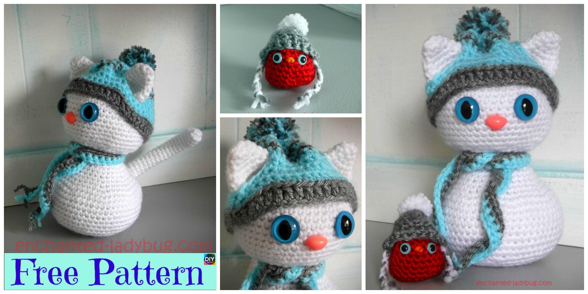 Crochet Snow Cat & Red Bird Buddy – Free Pattern