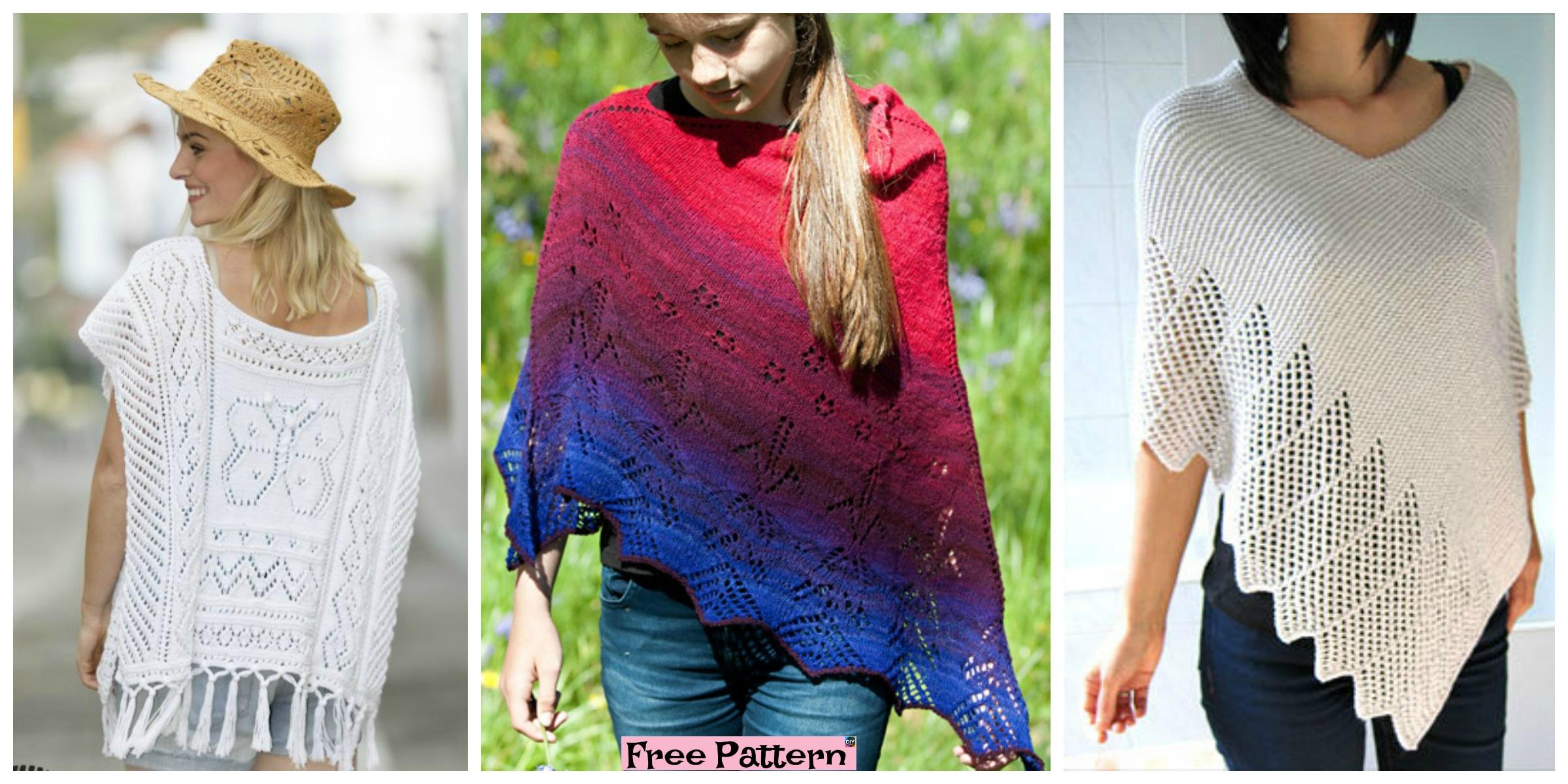 Pretty Knitting Lace Poncho- Free Patterns
