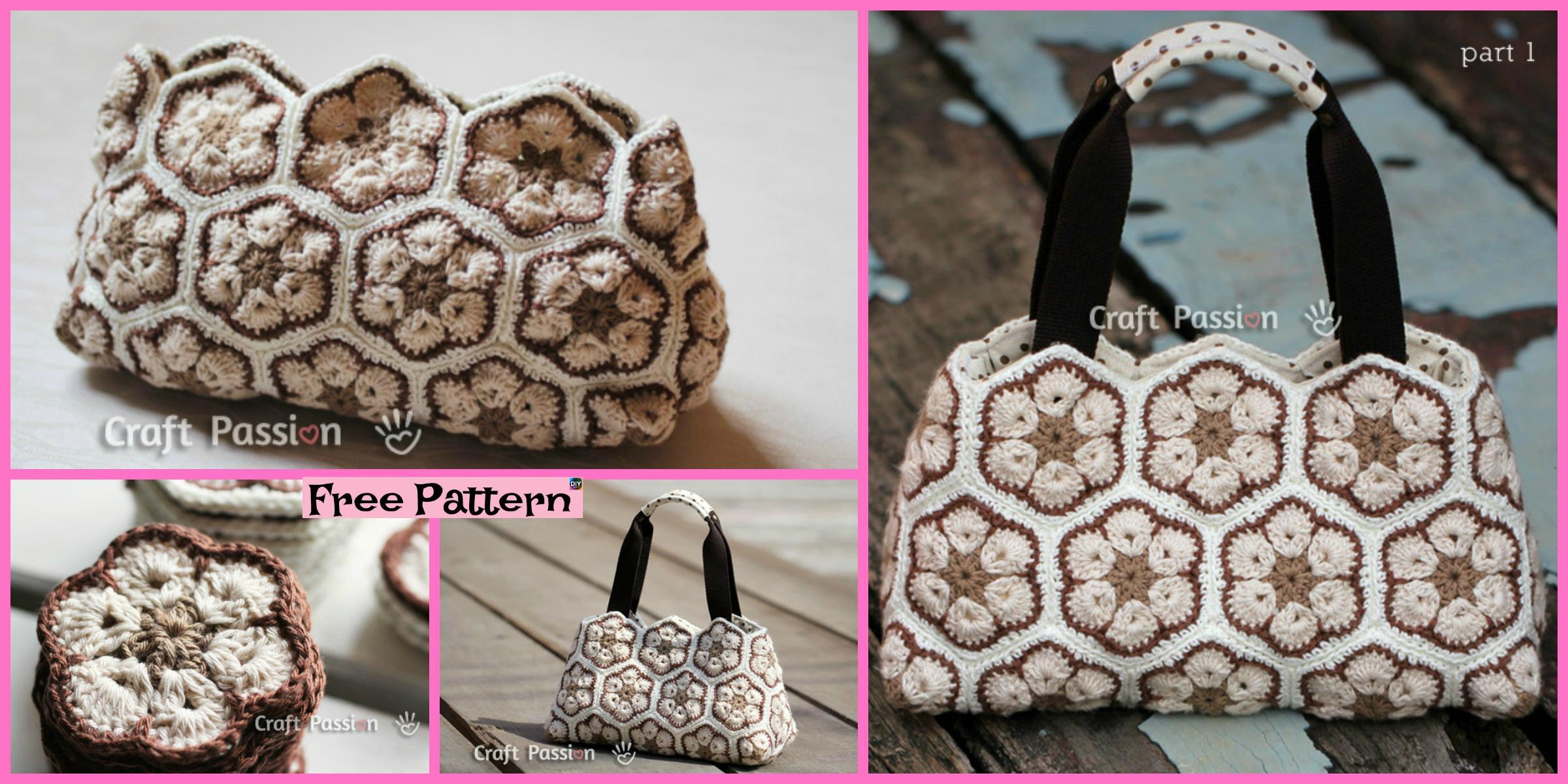 Pretty Crochet African Flower Purse – Free Pattern