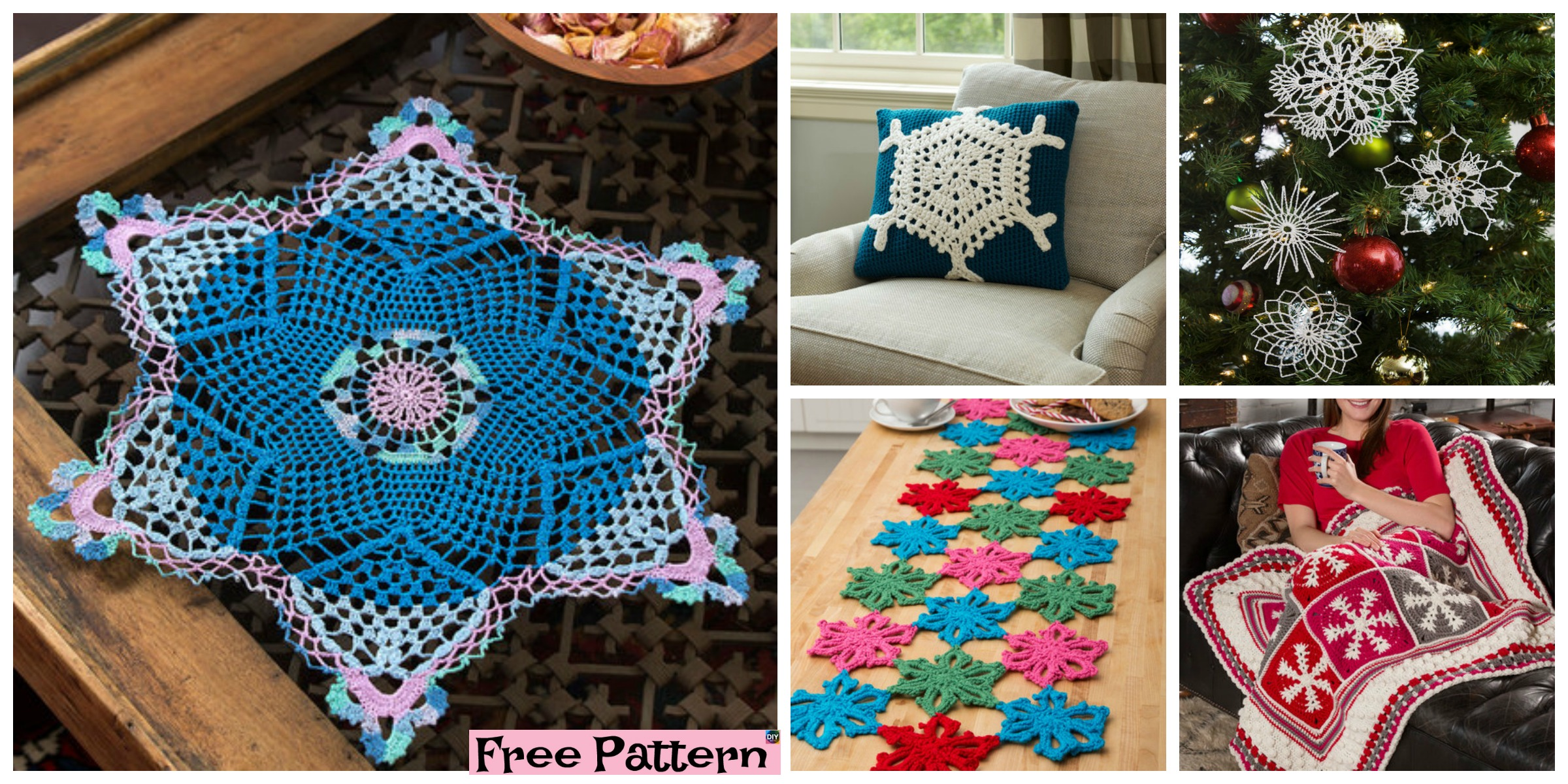 8 Crochet Pretty Snowflake Free Patterns