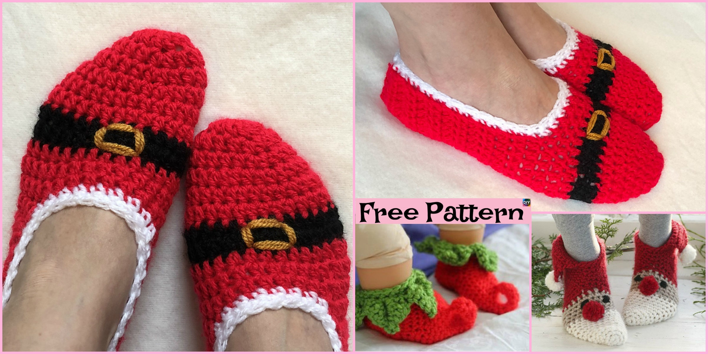 Crochet Christmas Slipper Socks – Free Pattern
