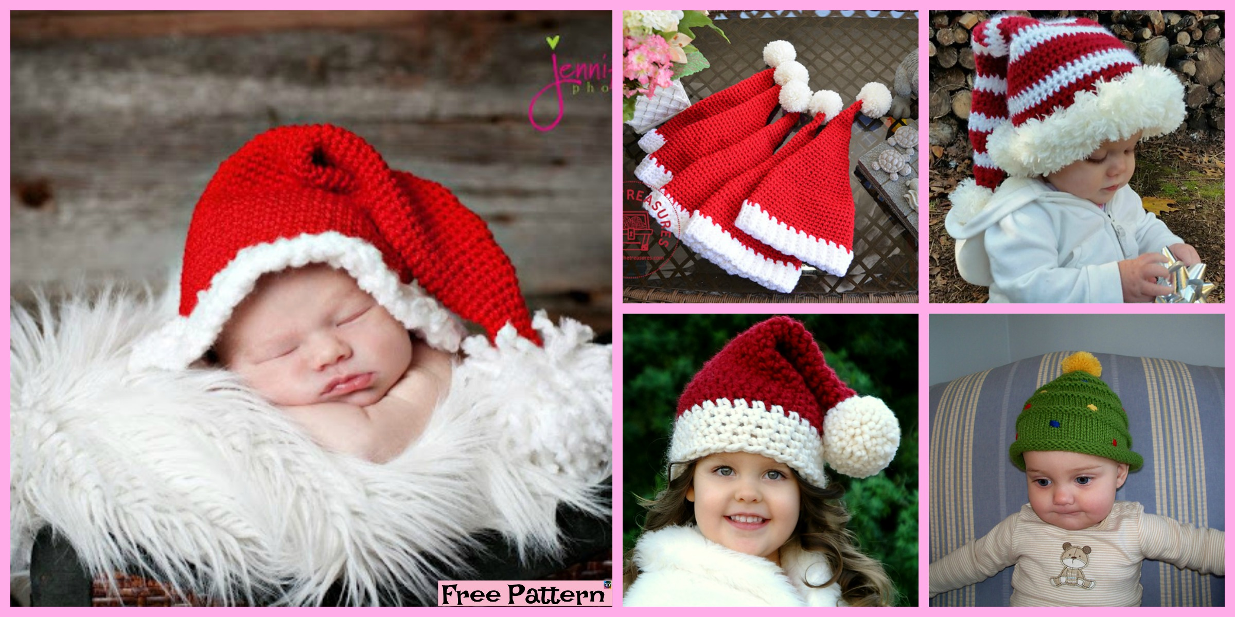 10 Crochet Christmas Hats – Free Patterns