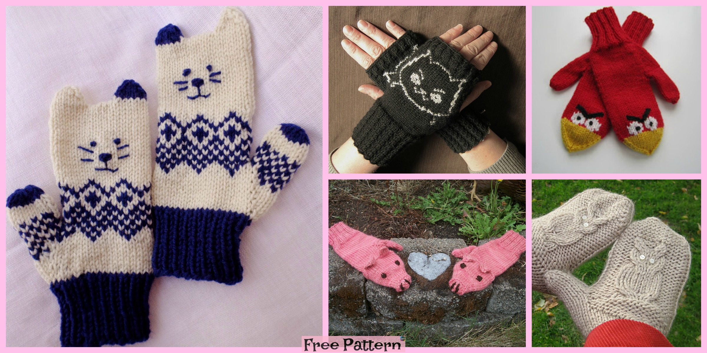 10+ Cute Knit Animal Mittens – Free Patterns