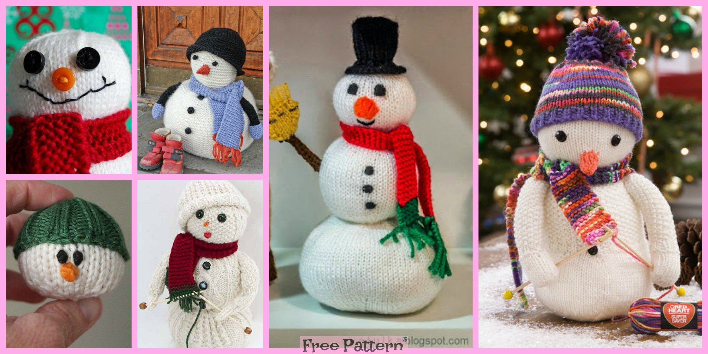 12 Cutest Knitted Snowman Free Patterns