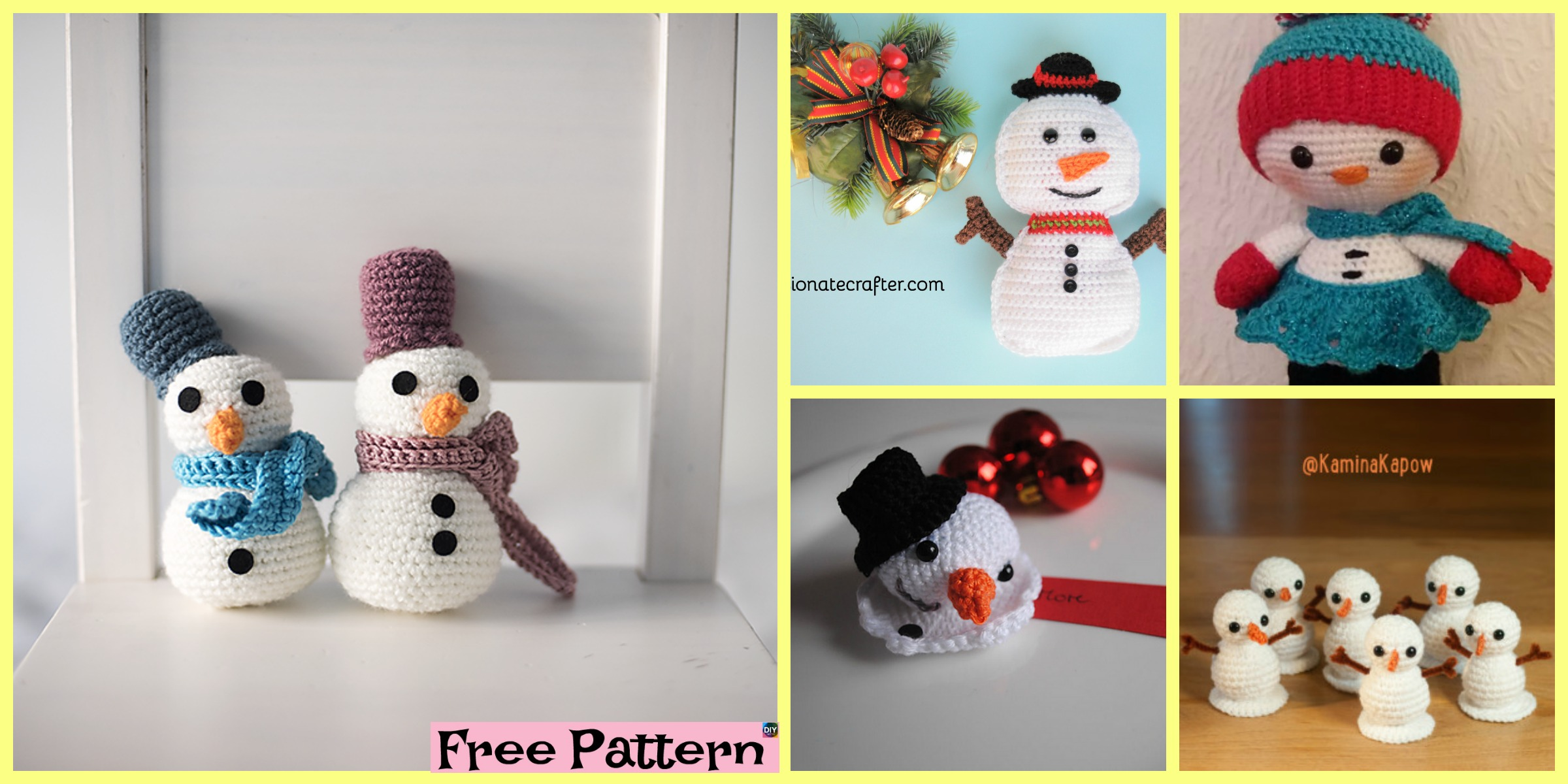 8 Crochet Cute Snowmen – Free Patterns