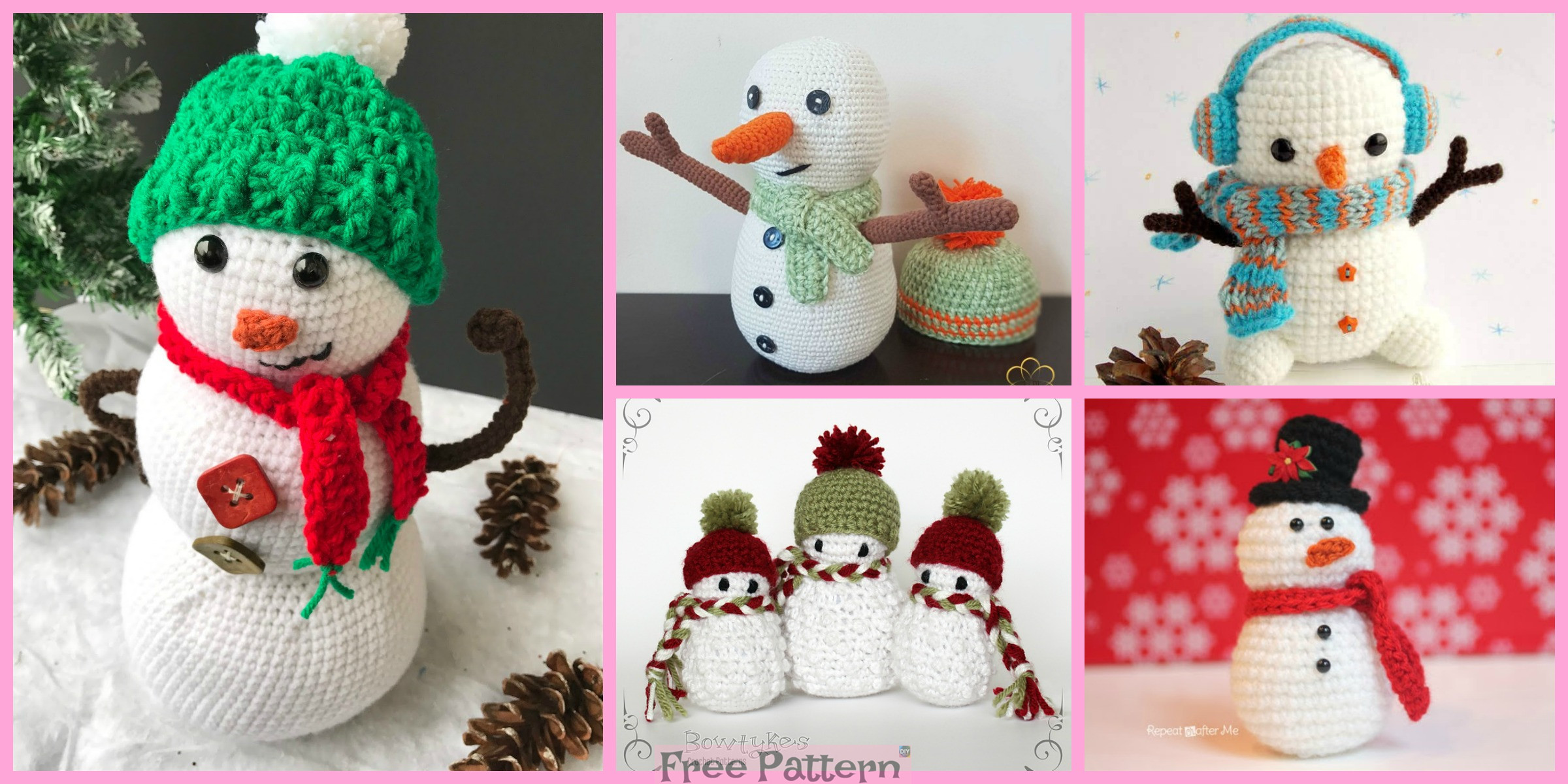 8 Crochet Snowman Amigurumi Free Patterns