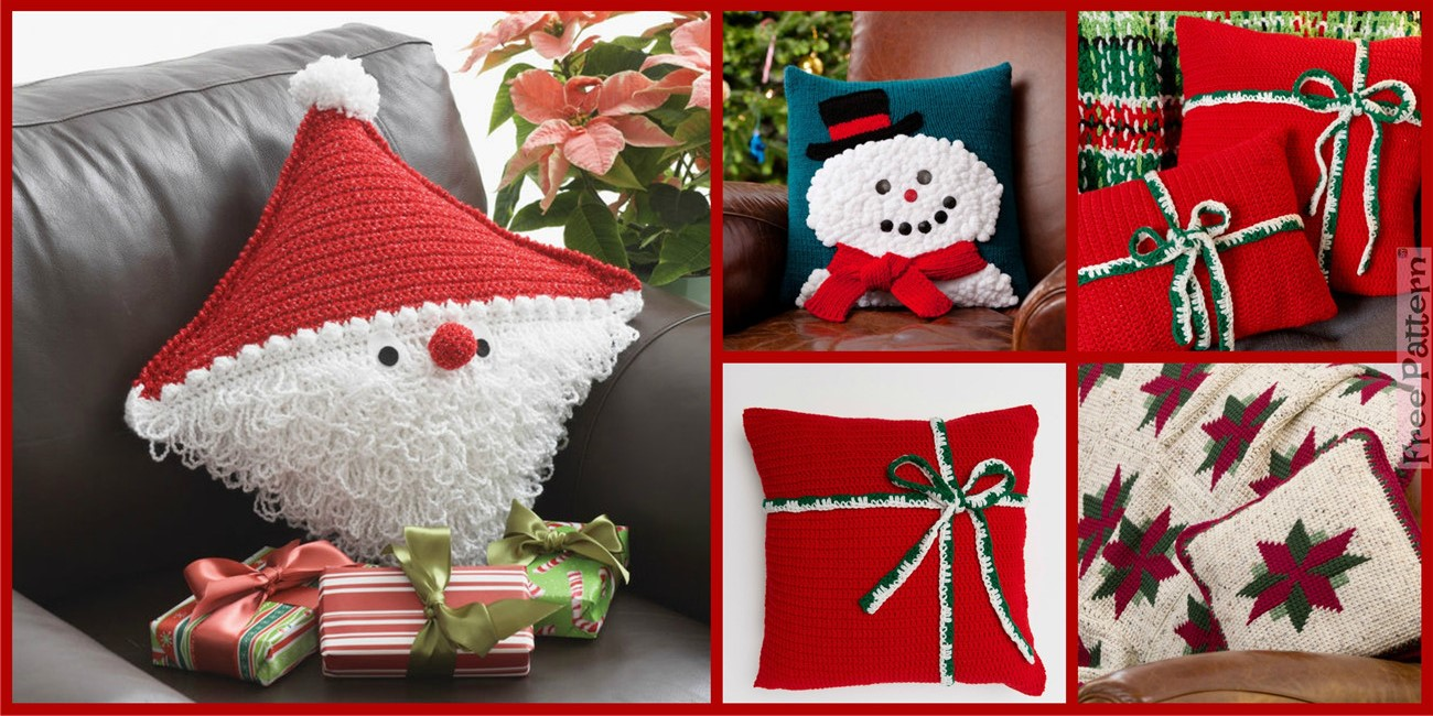 Crochet Christmas Gift Pillows  – Free Patterns