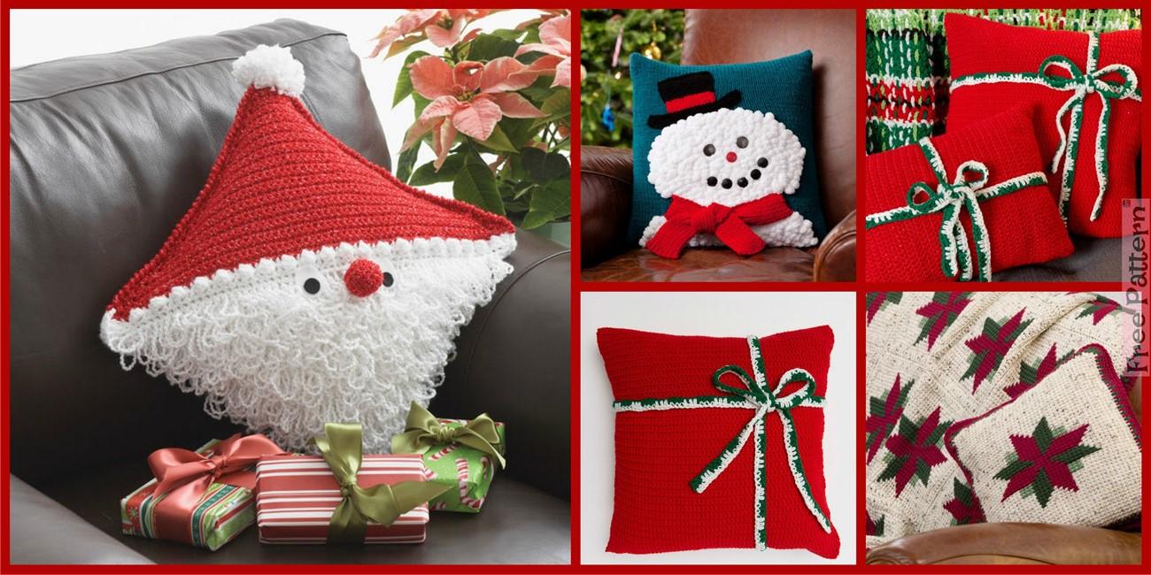 Crochet Christmas Gift Pillows  – Free Patterns