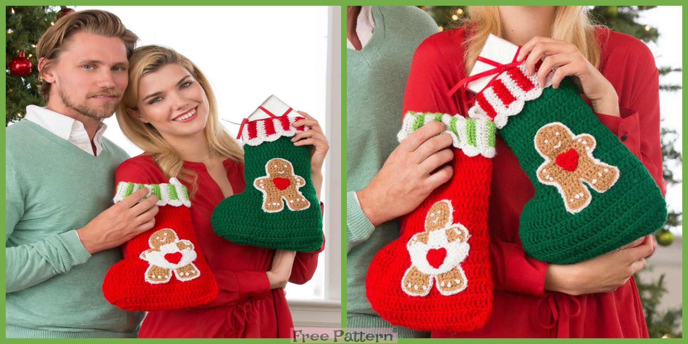 Crochet Sweet Gingerbread Stockings – Free Pattern