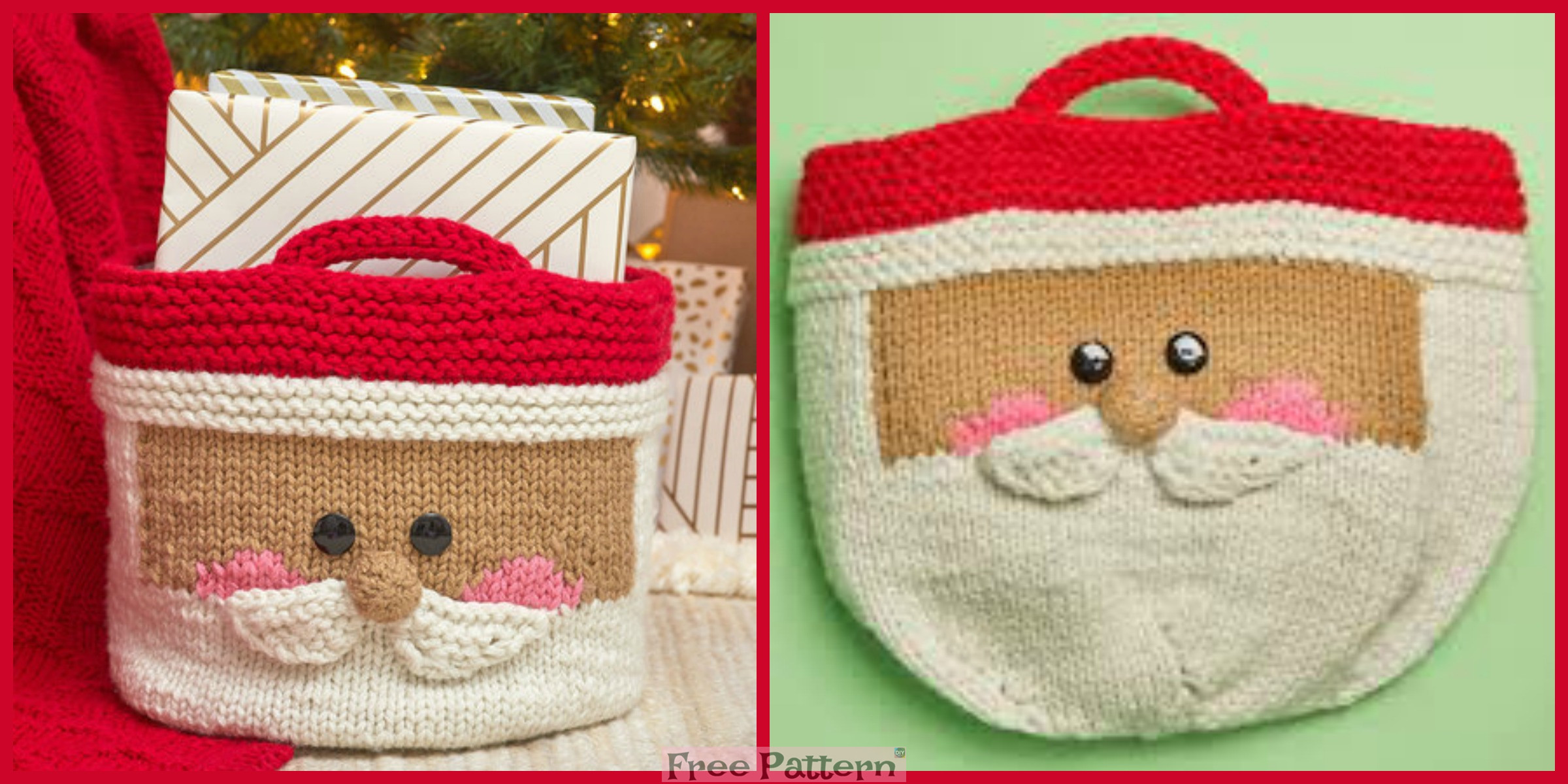 Cute Knit Santa Basket – Free Pattern
