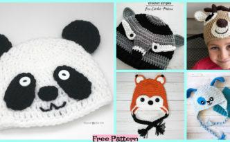 diy4ever-8 Adorable Crochet Animal Hats - Free Patterns