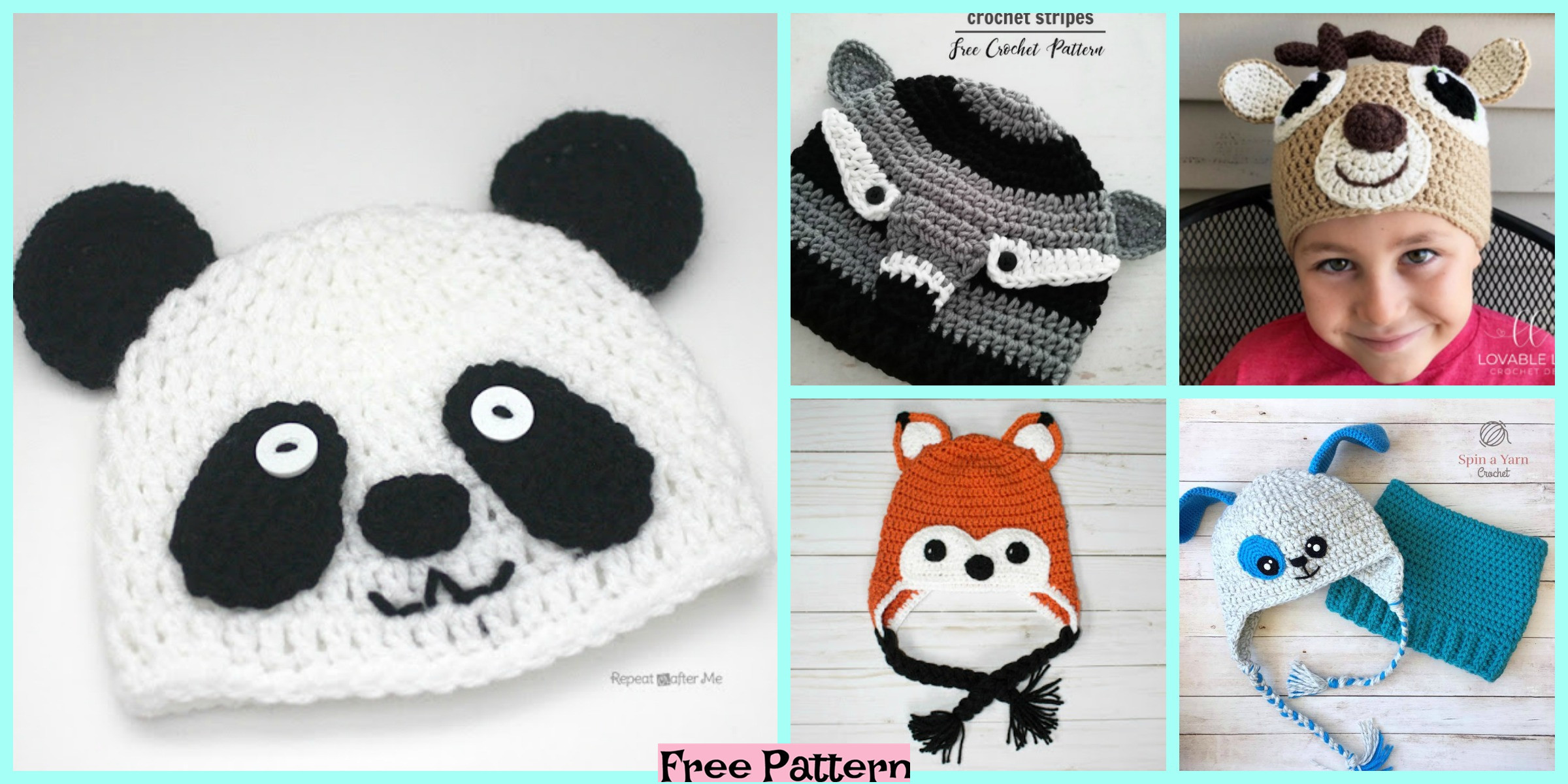 8 Adorable Crochet Animal Hats – Free Patterns
