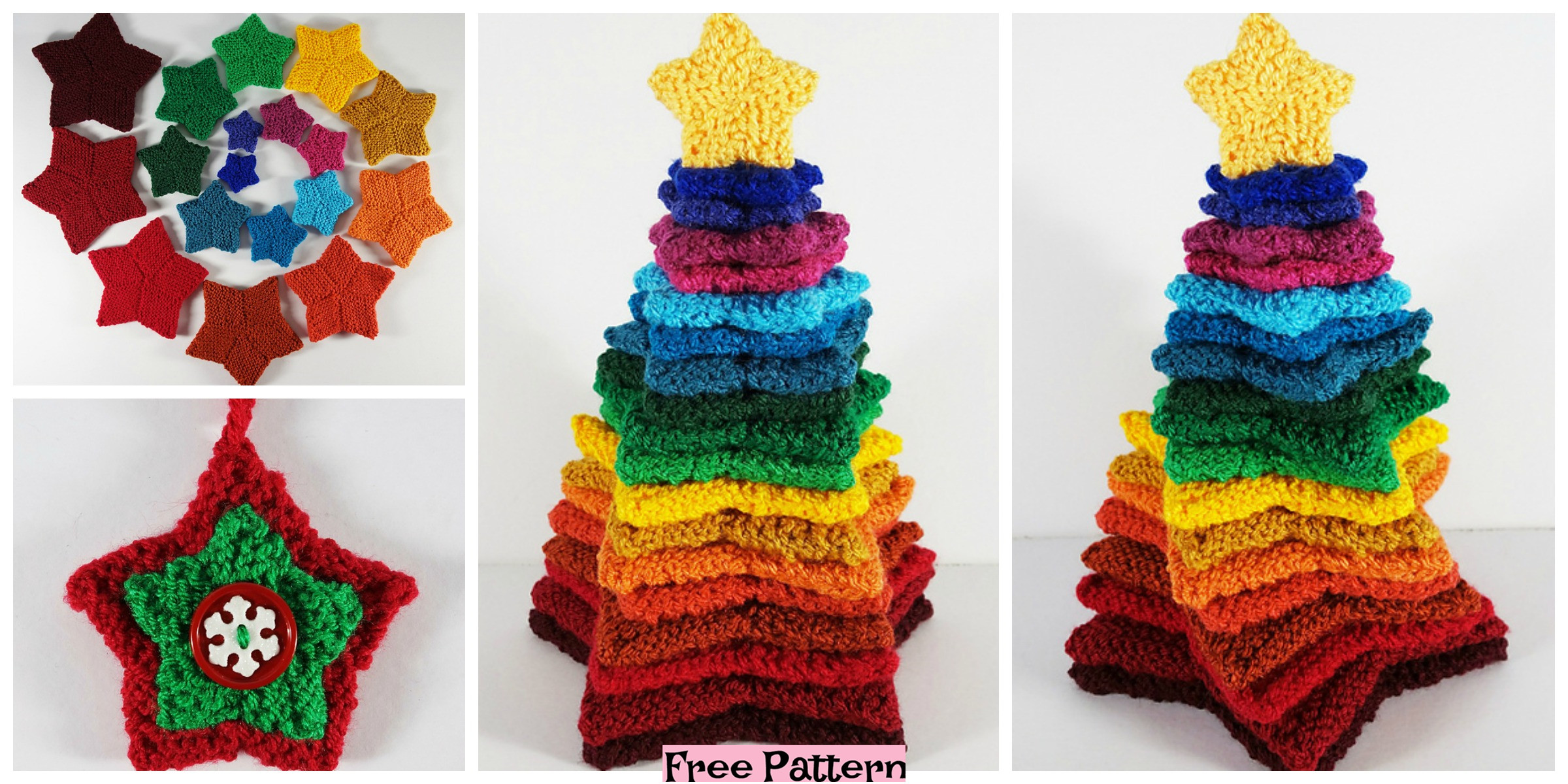 Colorful Knit Stacking Stars – Free Pattern