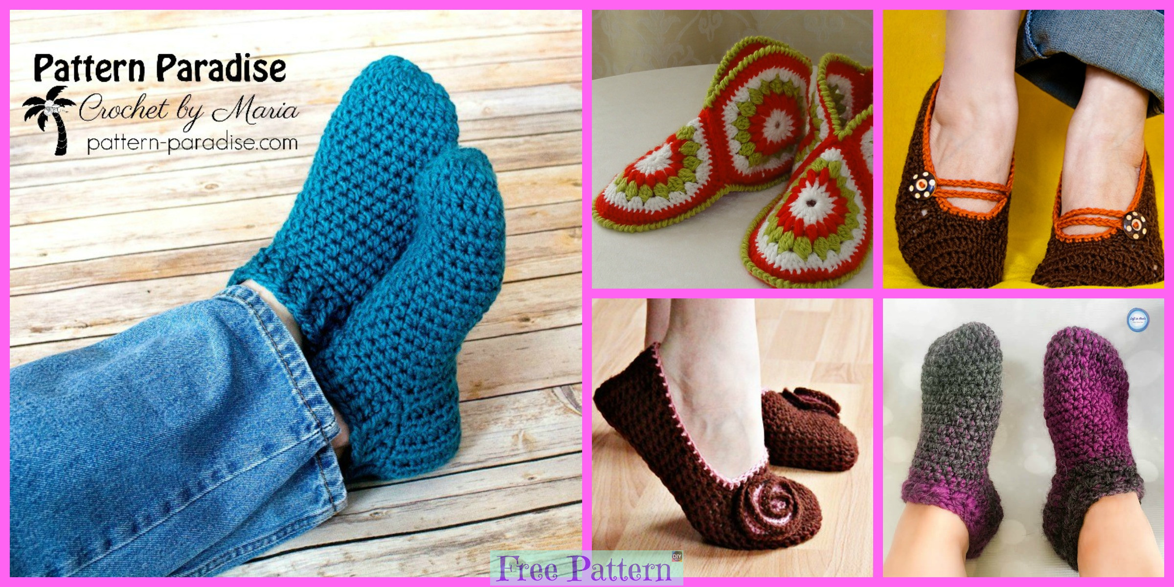 12 Cozy Crocheted Slippers – Free Patterns
