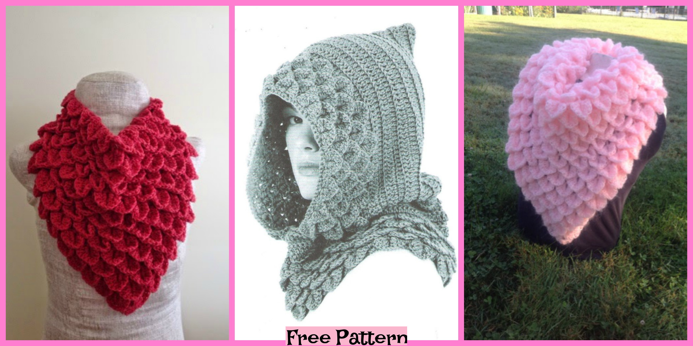 Crochet Crocodile Cowls – Free Patterns