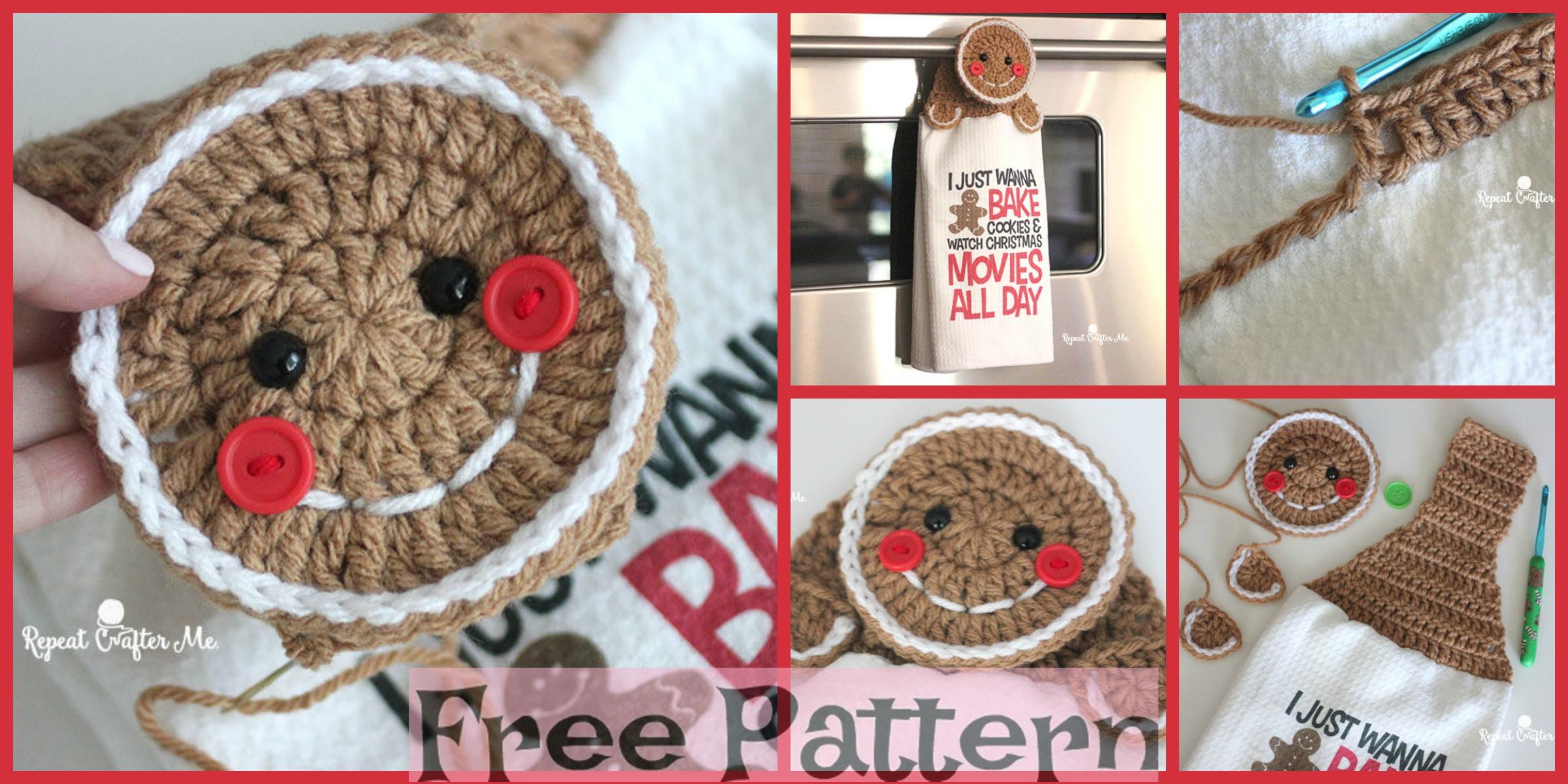Crochet Gingerbread Towel Topper – Free Pattern
