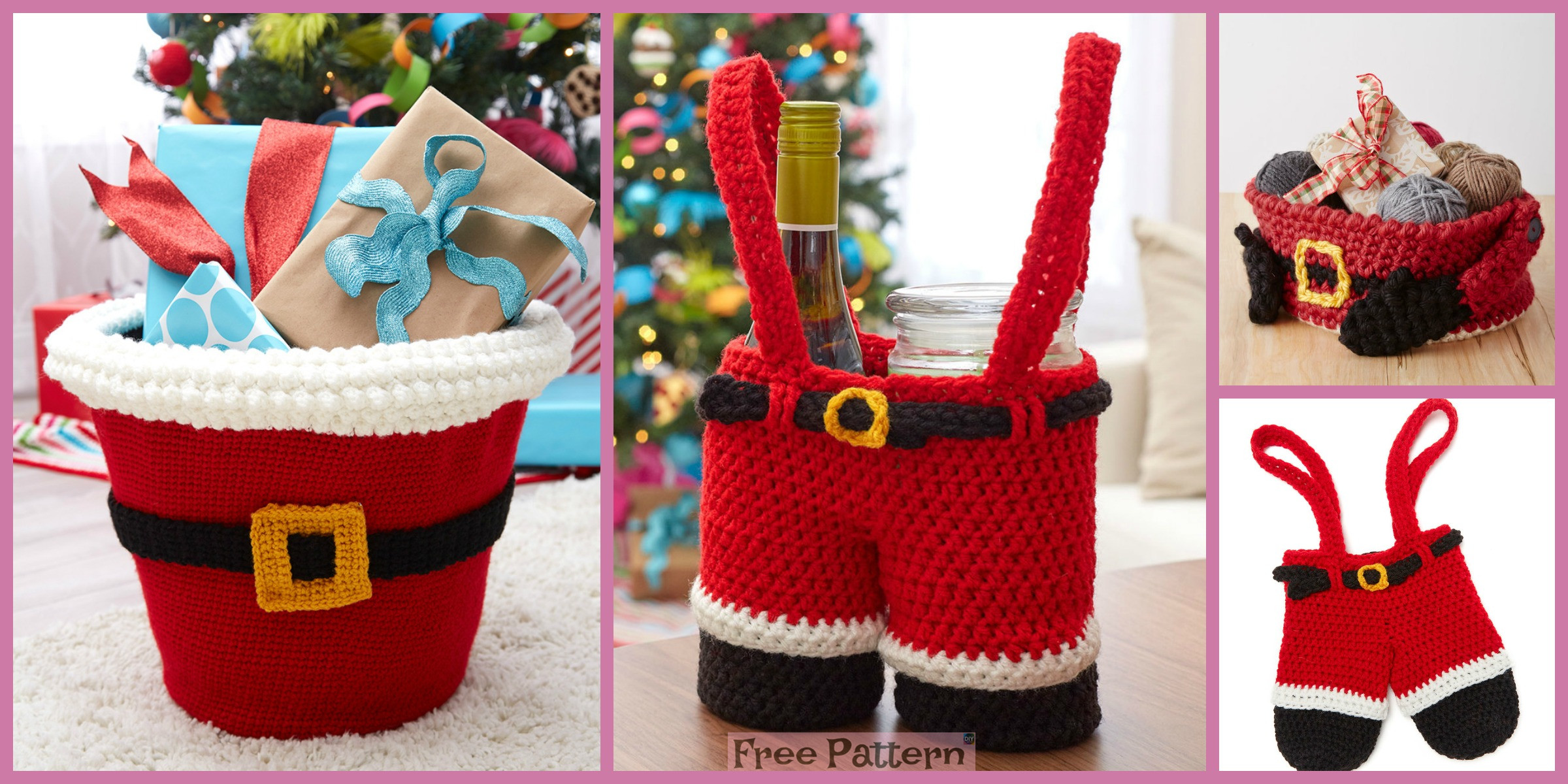 Crochet Santa's Gift Baskets – Free Patterns