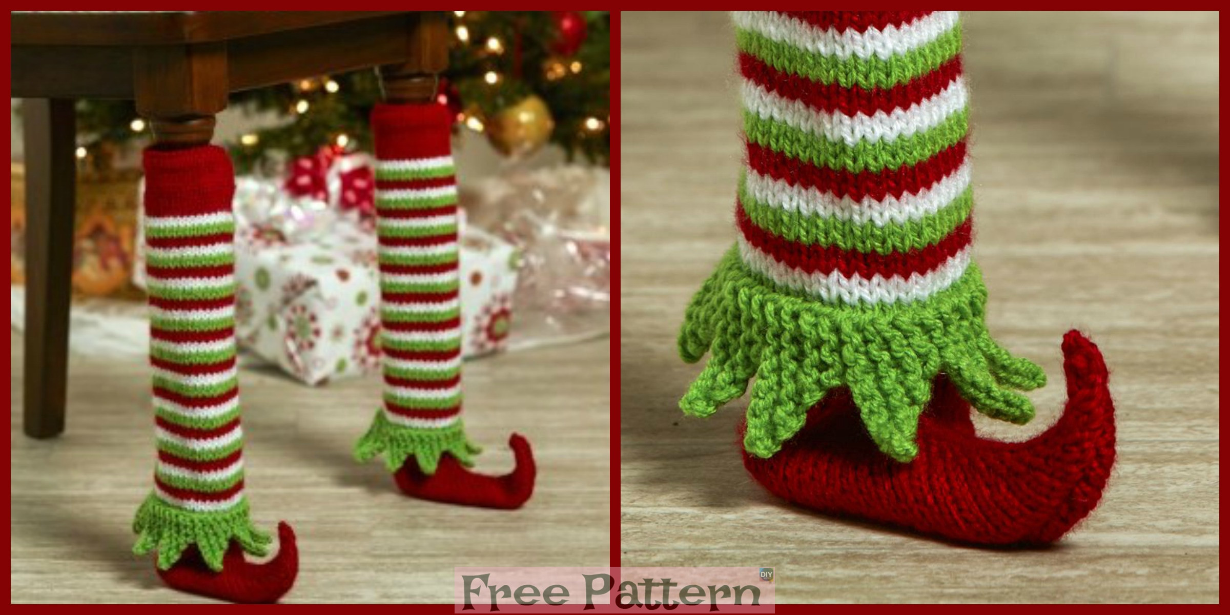 Knit Elf Shoe Table Leg Cover – Free Pattern