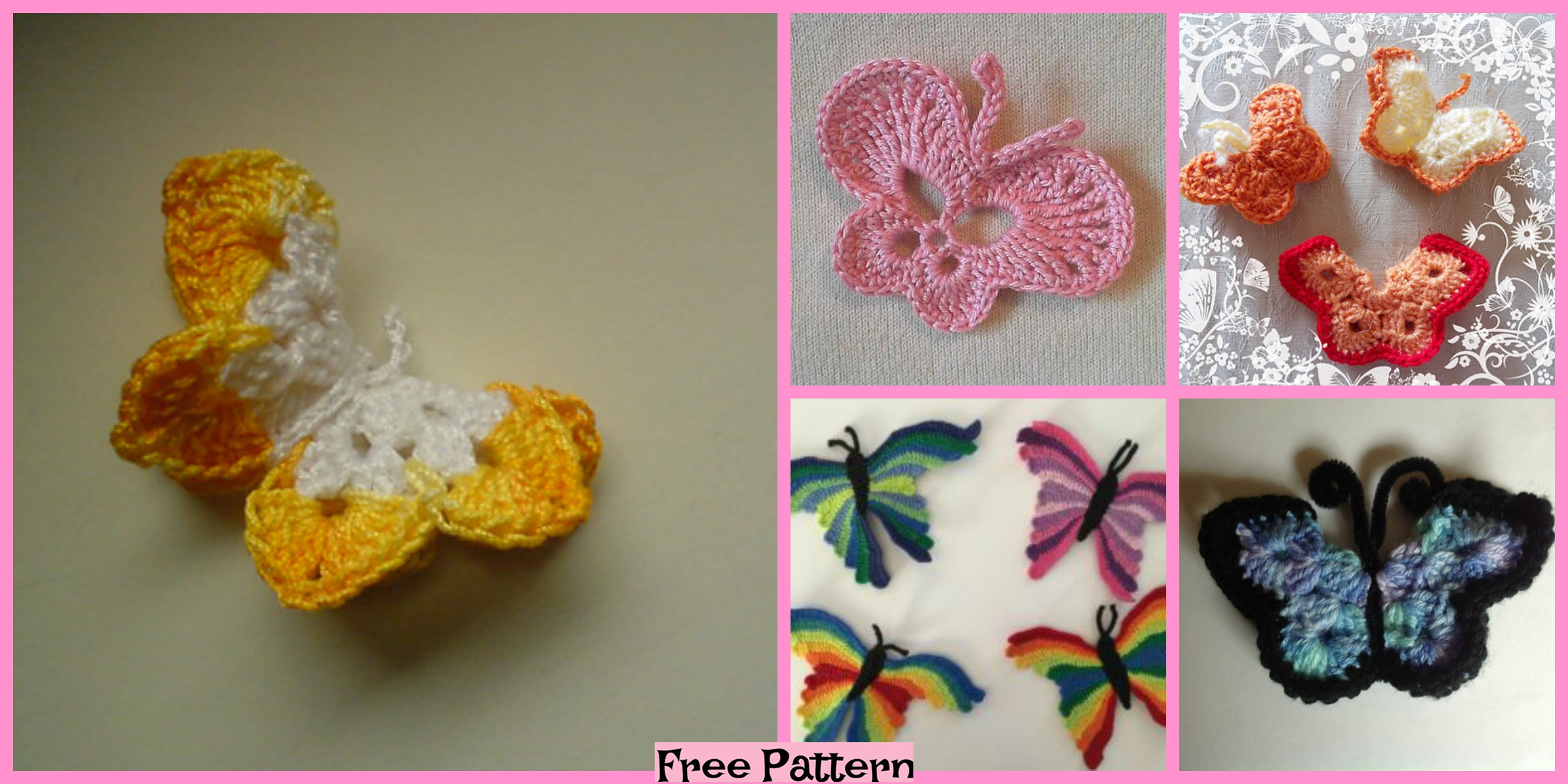 Pretty Crocheted  Butterflies – Free Patterns