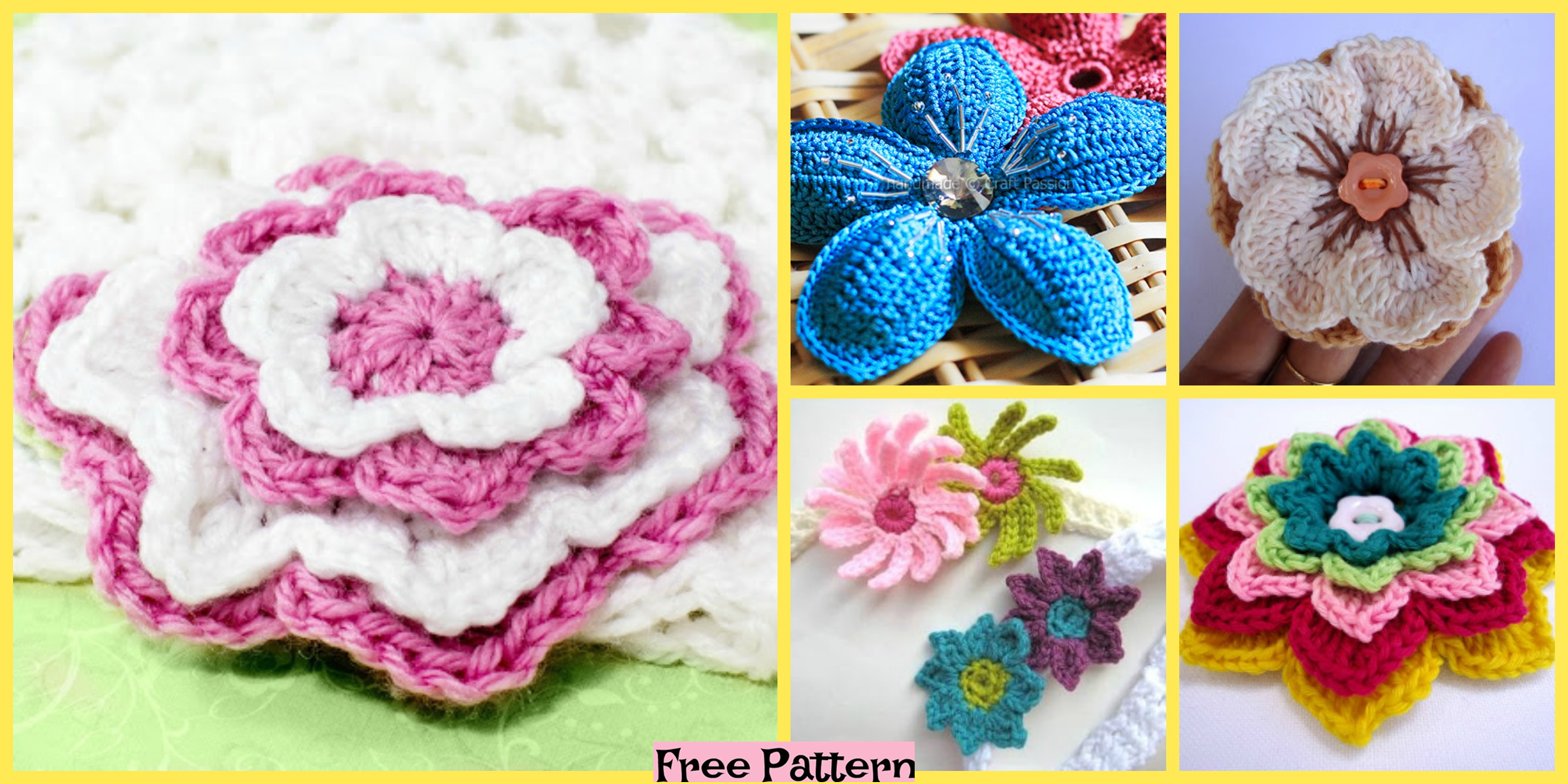 8 Beautiful Crochet Flowers – Free Patterns