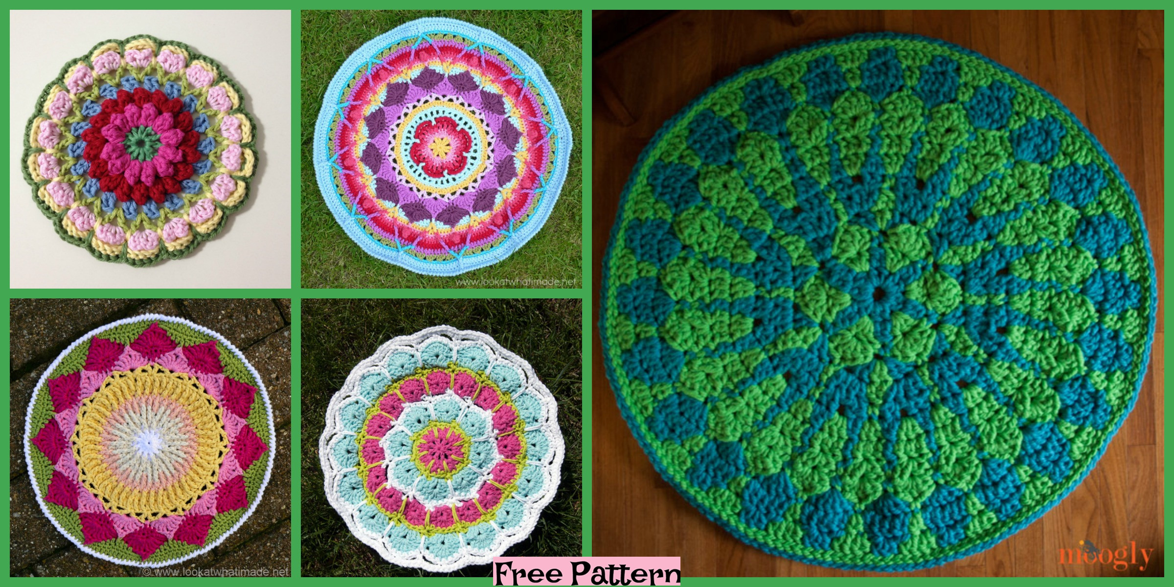 8 Crochet Mandala Rugs – Free Patterns