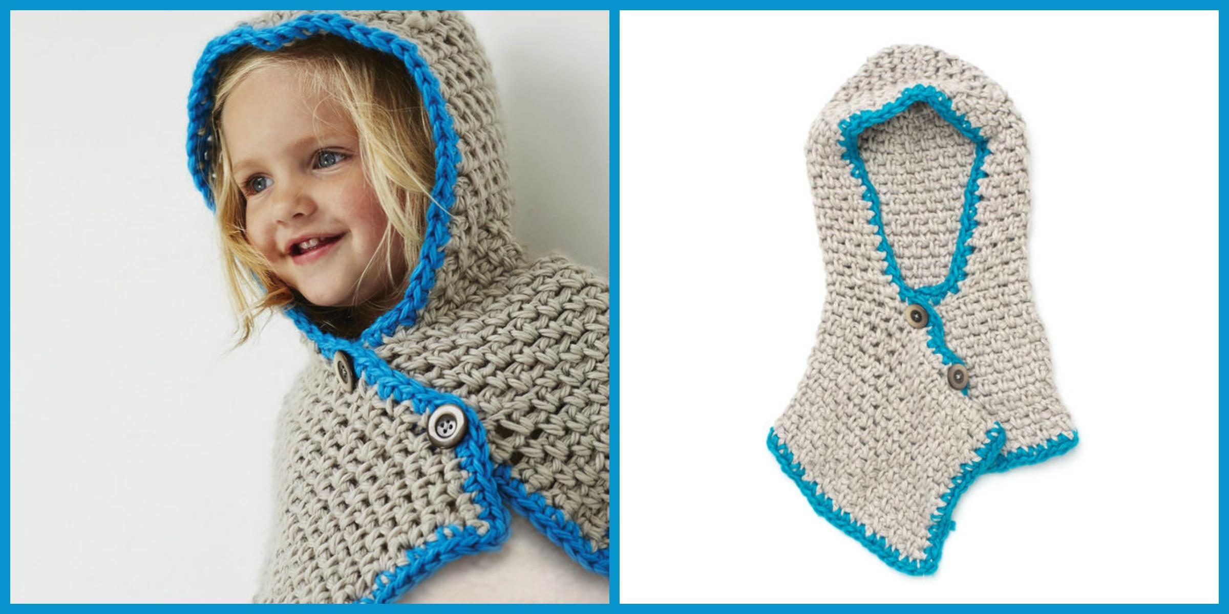 Crochet Bernat Hooded Cowl – Free Pattern