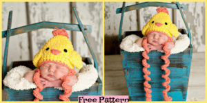 diy4ever-Crochet Chicken Hat - Free Pattern