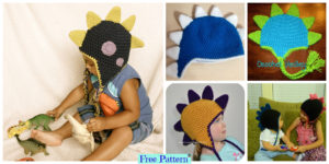 diy4ever-Crochet Dinosaur Spike Hat - Free Pattern