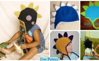 diy4ever-Crochet Dinosaur Spike Hat - Free Pattern